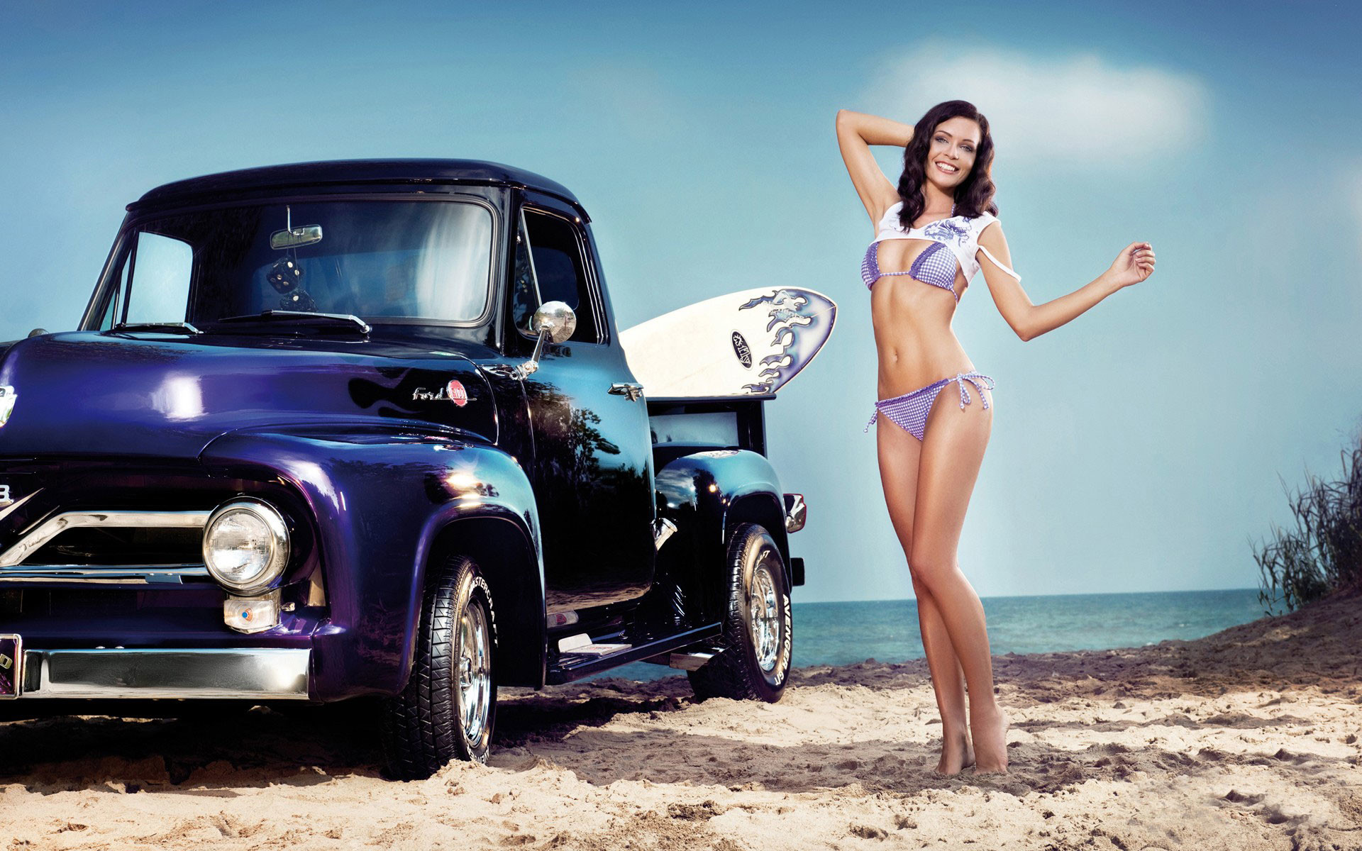 Vehicles girls bikini brunette truck cars wallpaper | | 41780 |  WallpaperUP
