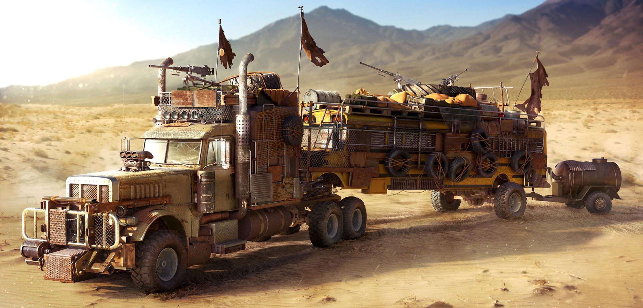 fallout, school bus, truck, wasteland, desert, postapocalyptic, desert, bus