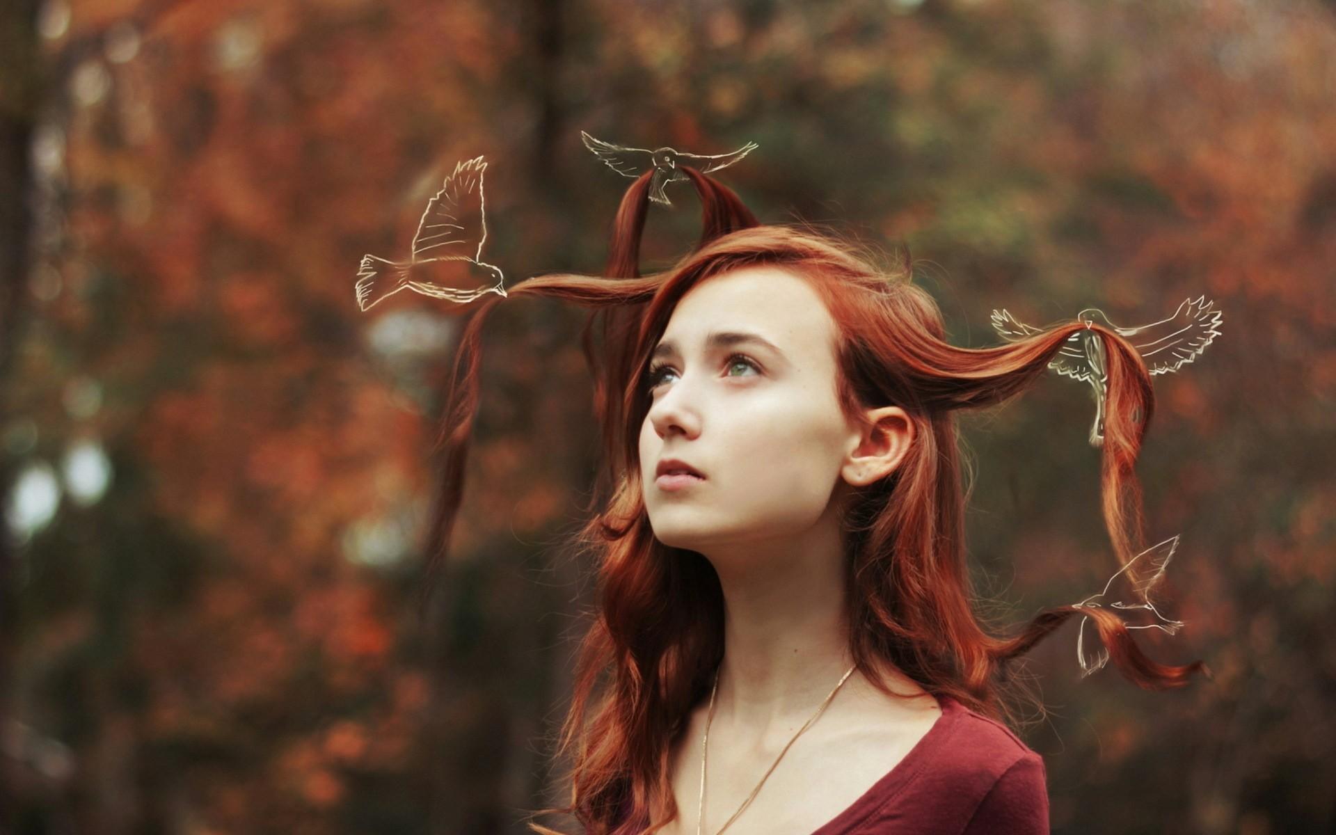 … redhead girl birds art photo wallpaper free download for  desktop, forest, autumn,