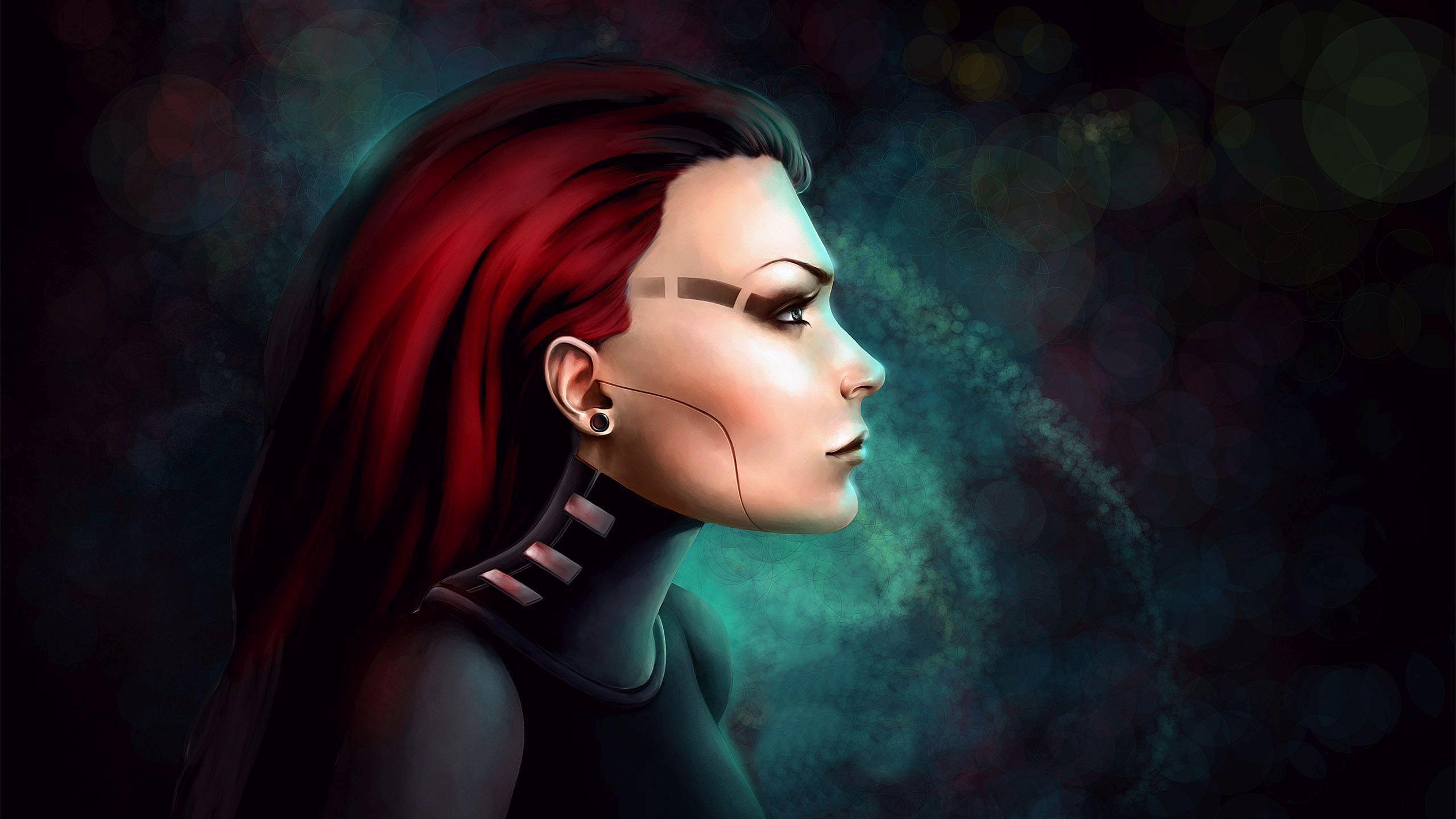 HD Cyborg redhead Wallpaper