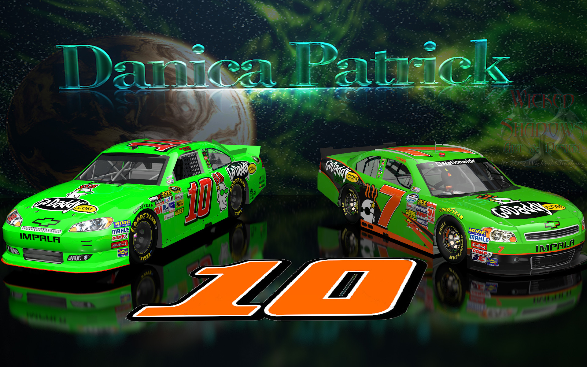 Wallpapers By Wicked Shadows: Danica Patrick NNS And Cup Go Daddy Cars .