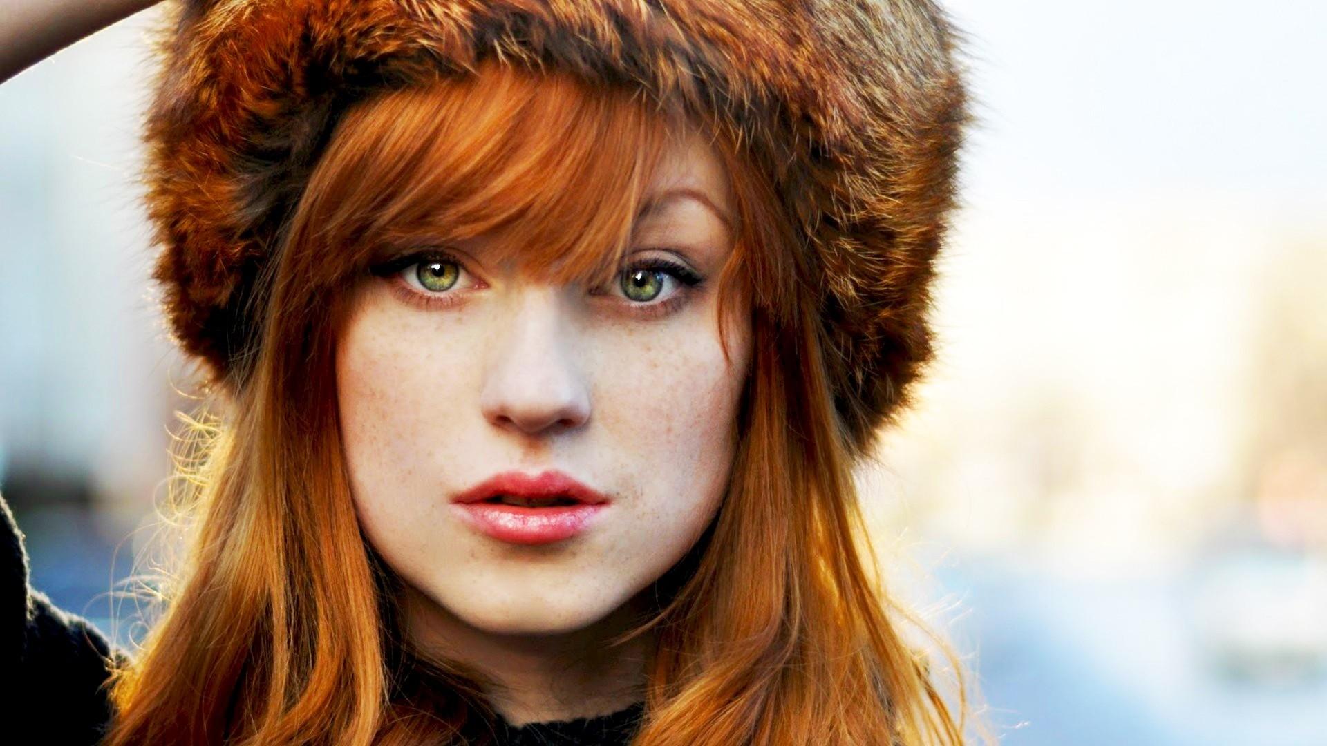 Beautiful Redhead Girl With Fur Hat – Wallpaper #40367 Hot Irish Women