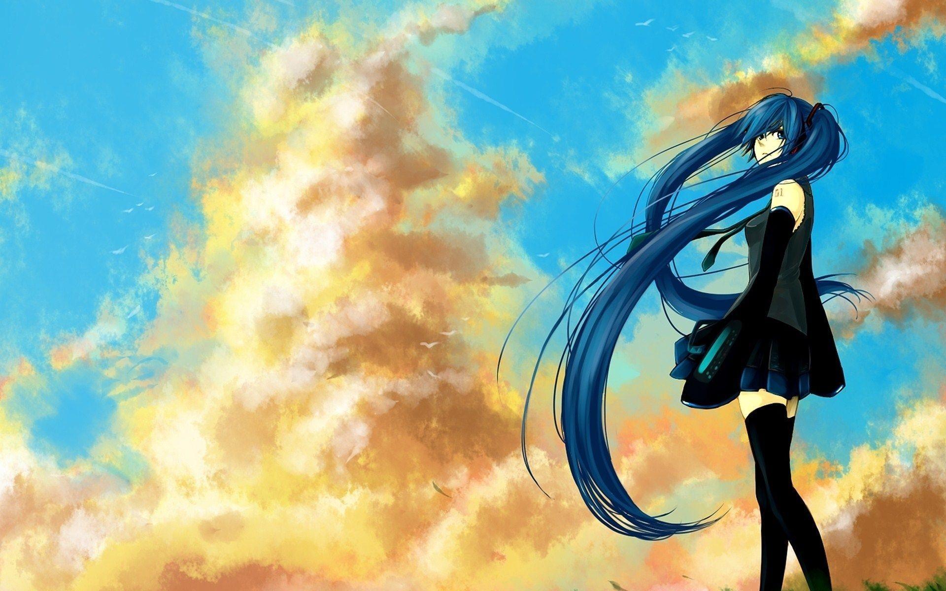 Anime, Hair, Wallpaper, Blue, Beautiful, Black, Girl, Dress –