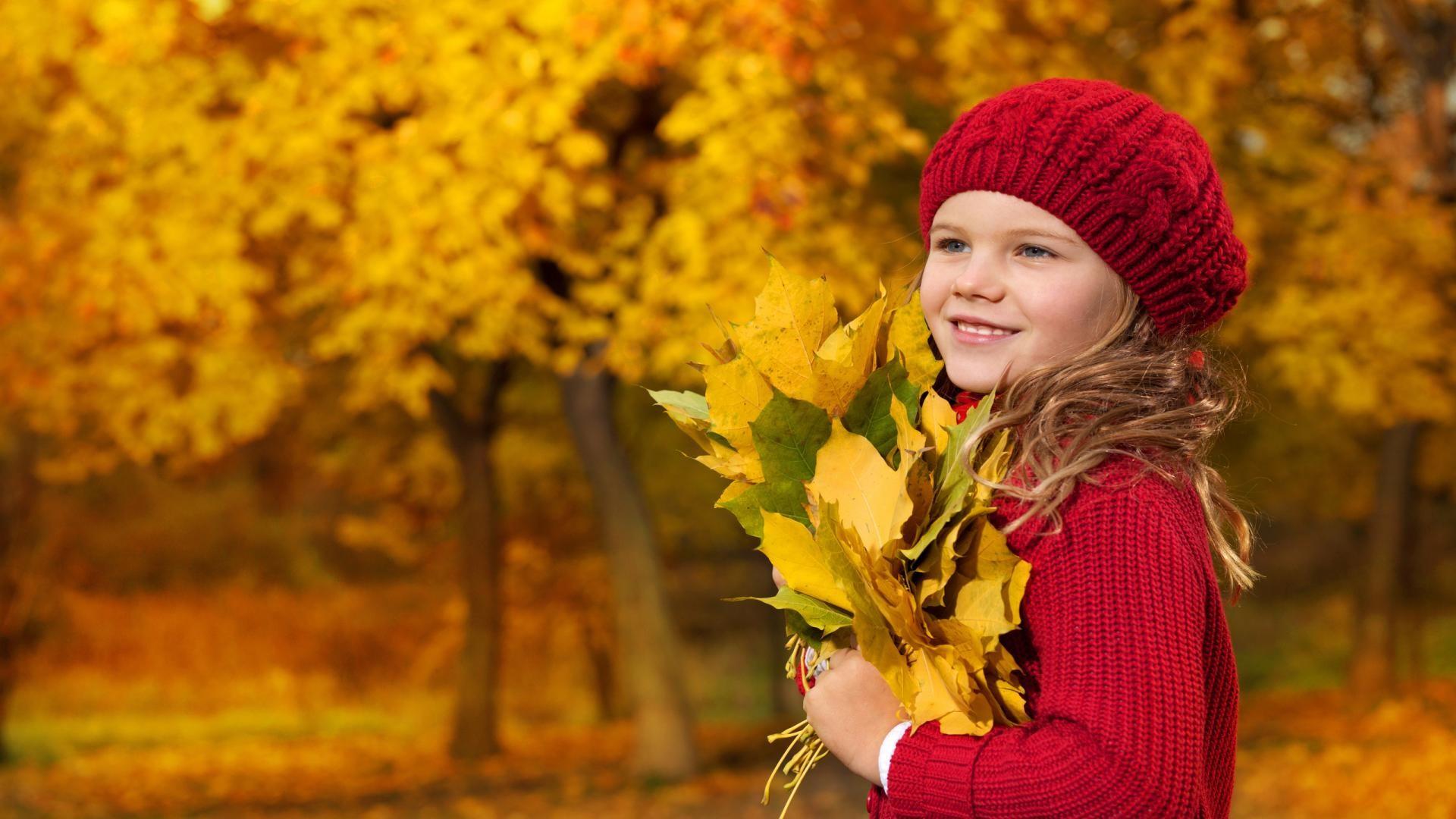 Cute Baby Girl in Autumn Season