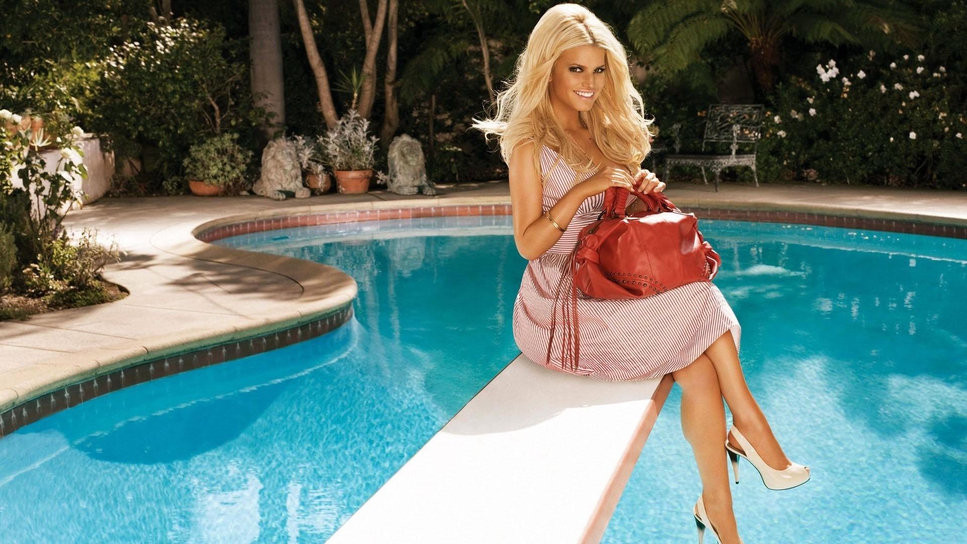 Wallpaper Jessica simpson, Blonde, Pool, Handbag, Dress