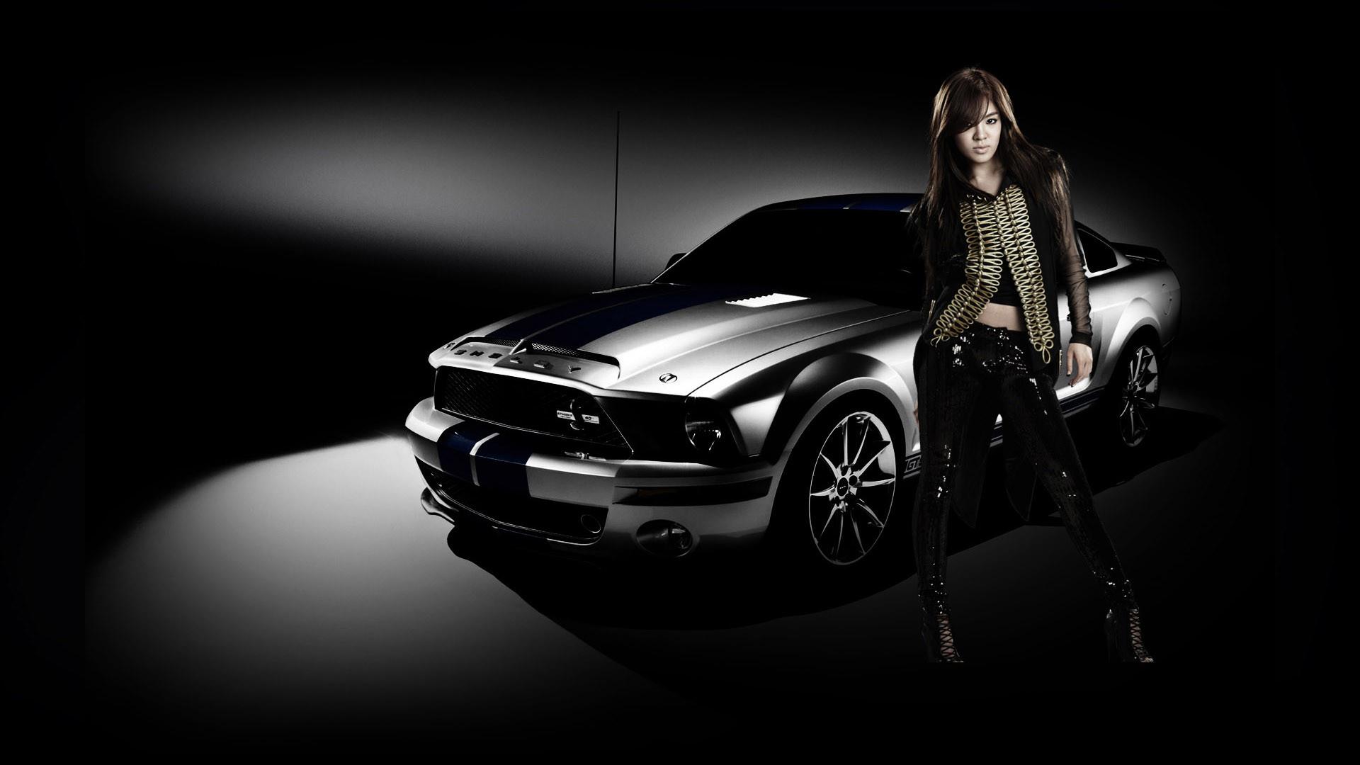 Car And Black Dress Girl Wallpaper