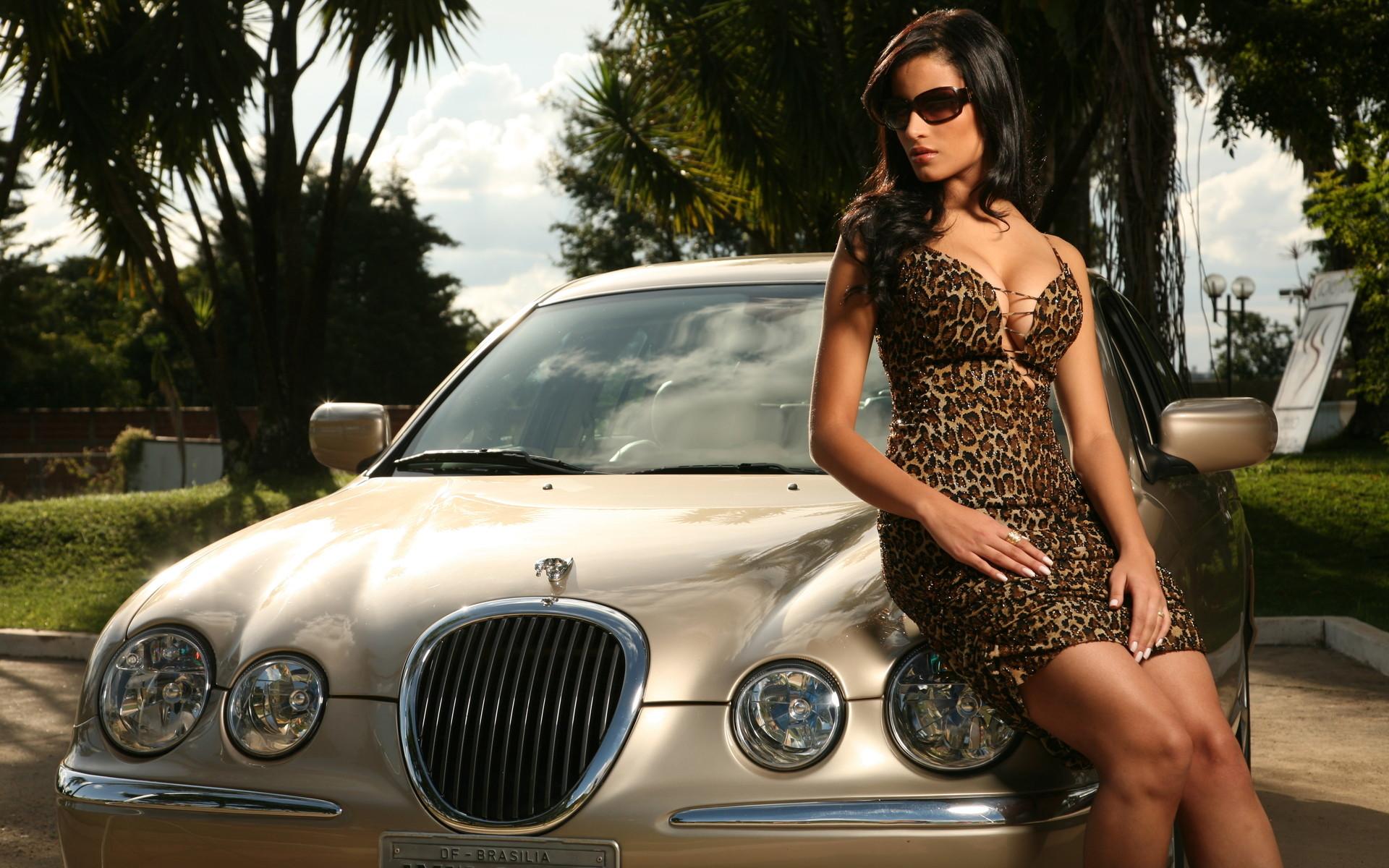 Jaguar Car And Girl HD Wallpaper