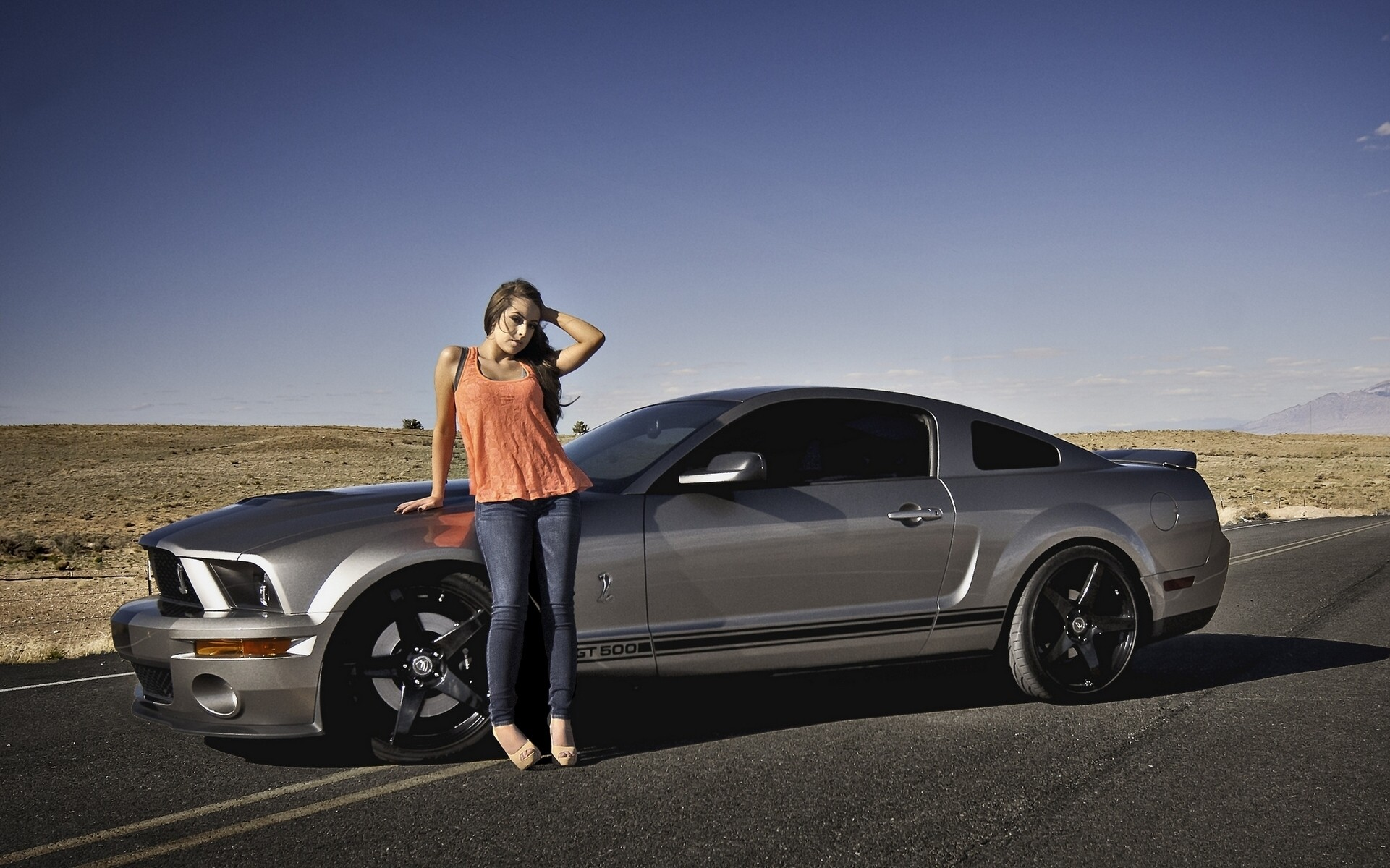 Wallpapers Ford Mustang Shelby GT500 Grey Girls Cars Side auto  automobile
