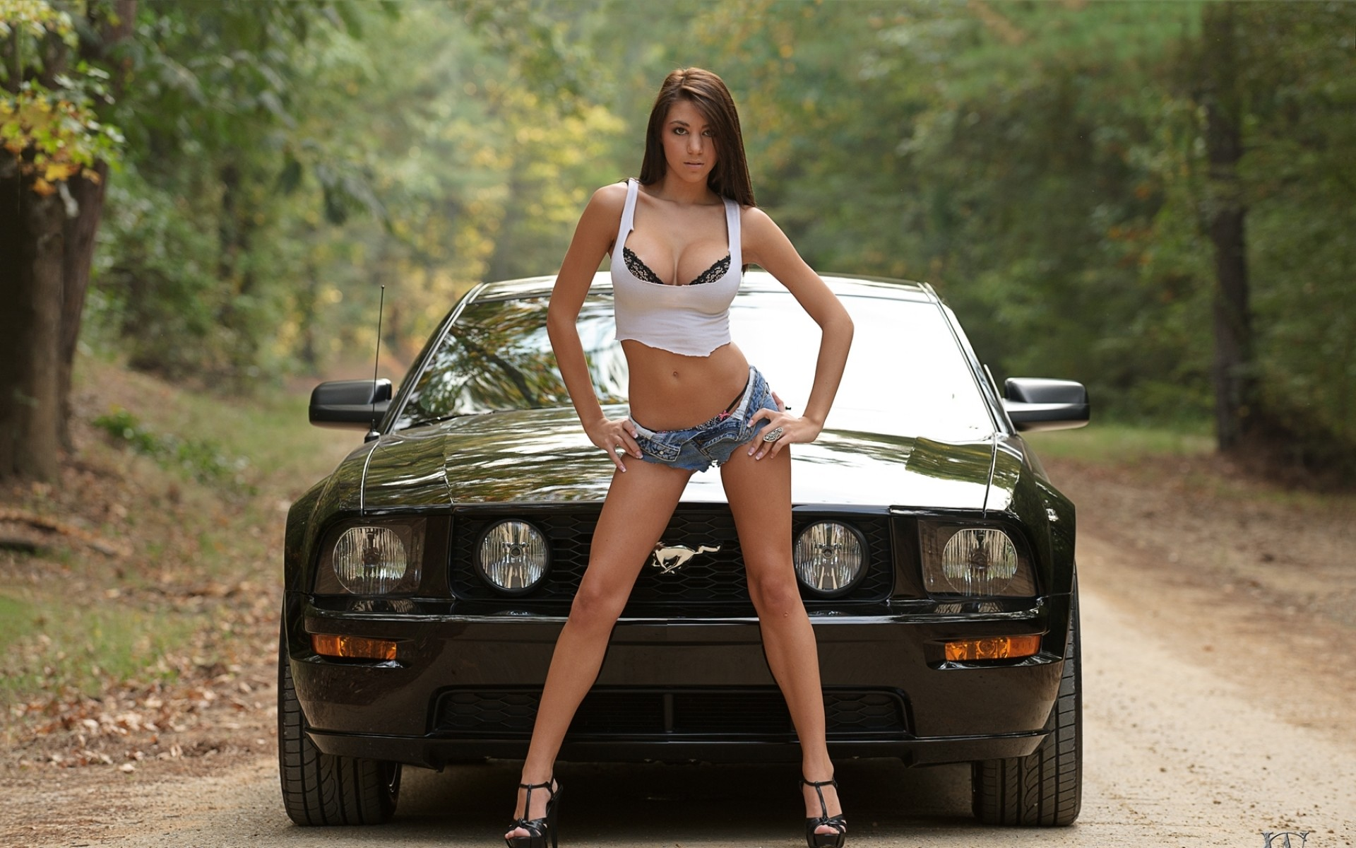 Women trees cars cleavage high heels ford mustang denim shorts wallpaper |  | 31928 | WallpaperUP