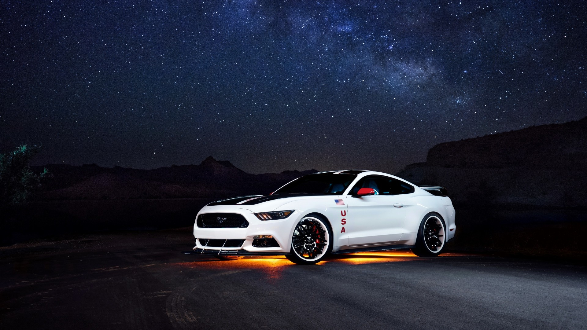 Preview wallpaper ford, mustang, white, side view, night 1920×1080