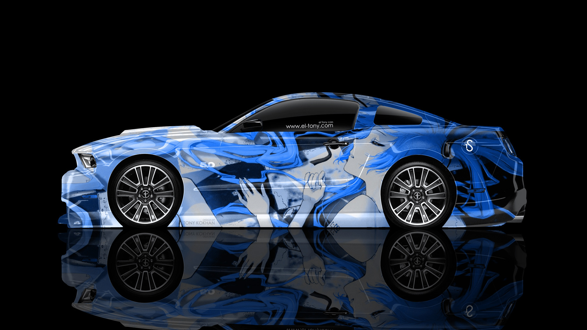 … Ford-Mustang-GT-Muscle-Side-Anime-Girl-Aerography- …