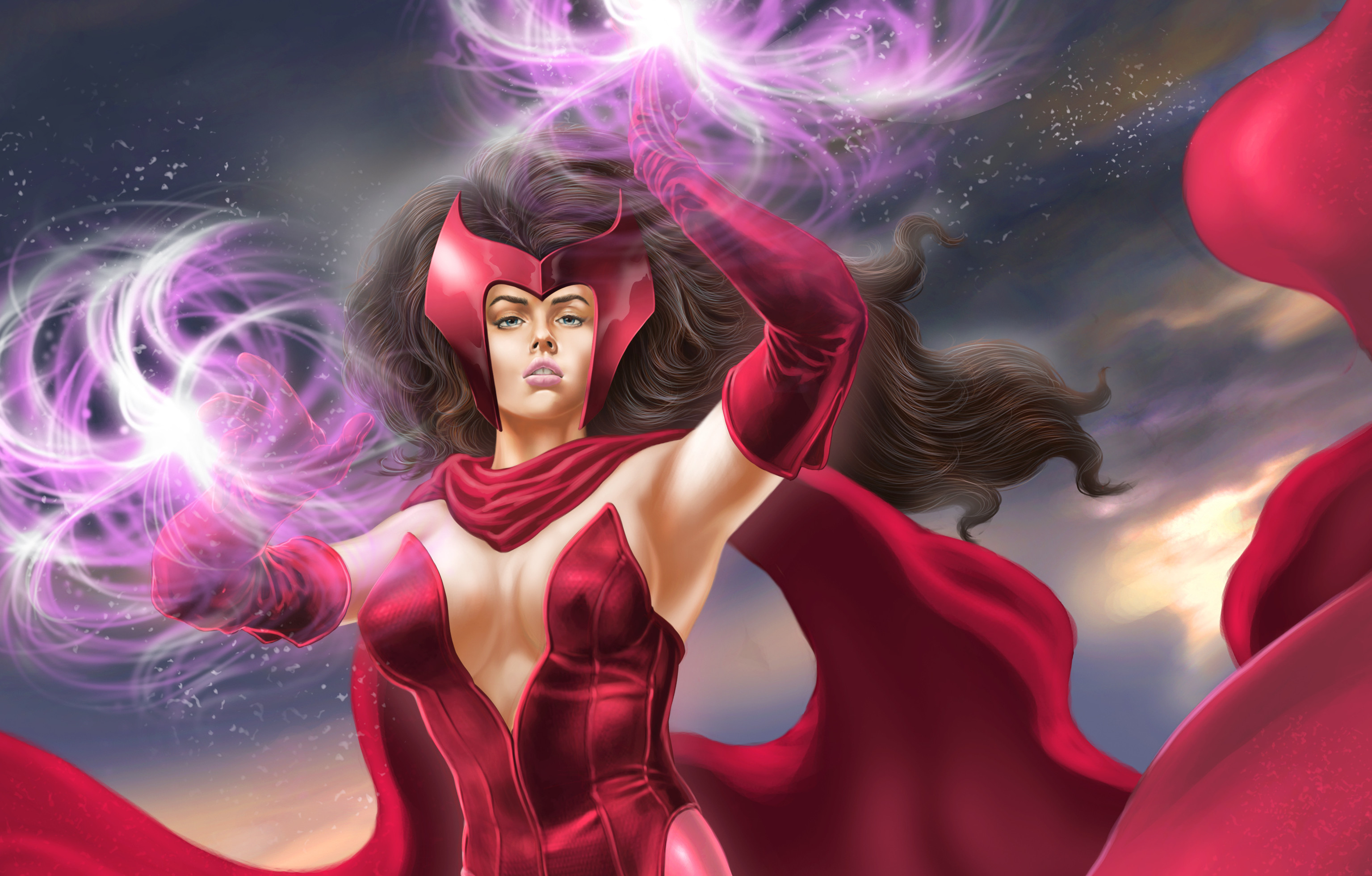 Photo Heroes comics Warriors Scarlet Witch Girls Fantasy 3071×1960