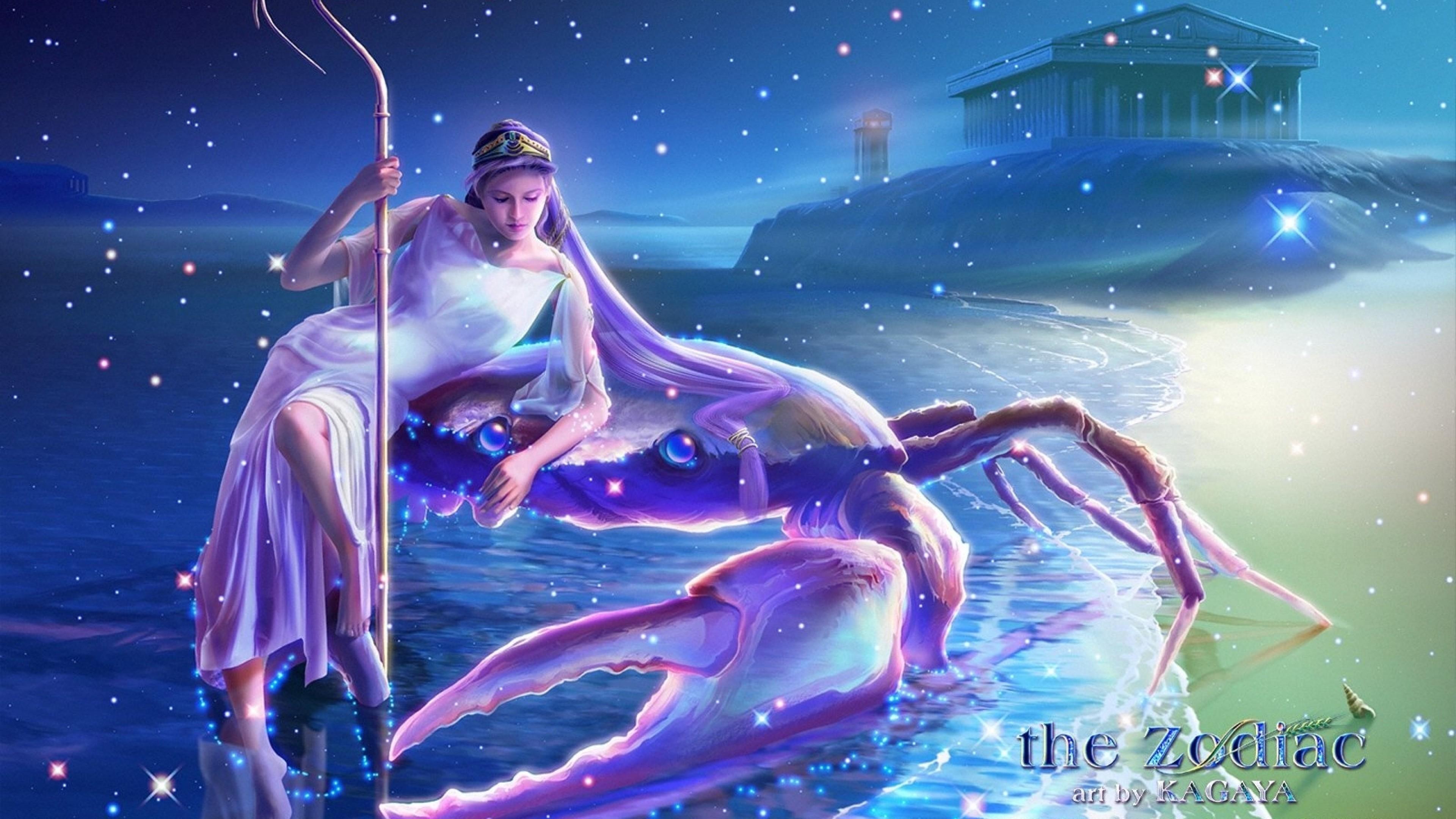 Wallpaper zodiac, sign, cancer, water, girl