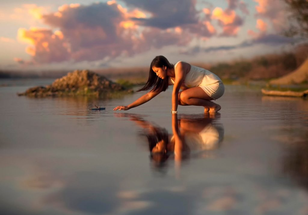 water girl eastern appearance reflection ripple clouds