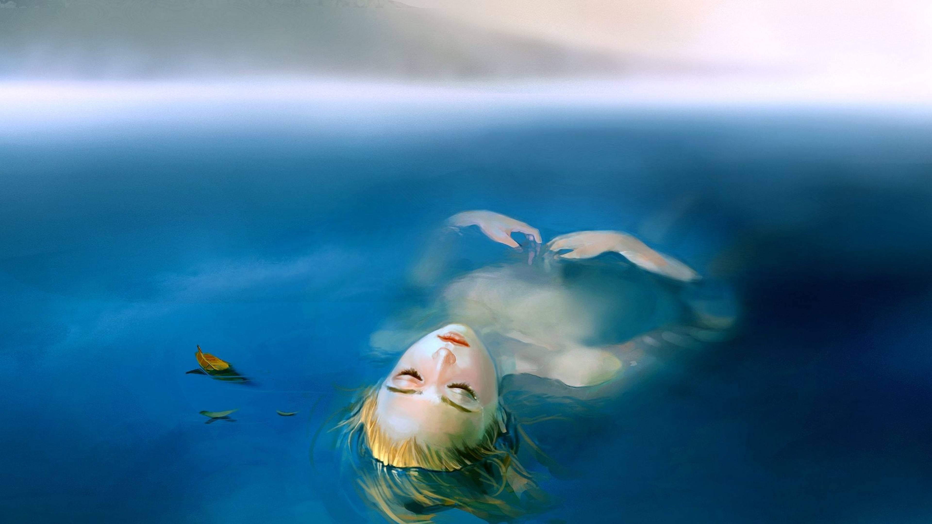 Wallpaper girl, water, corpse, drowned woman, body, death