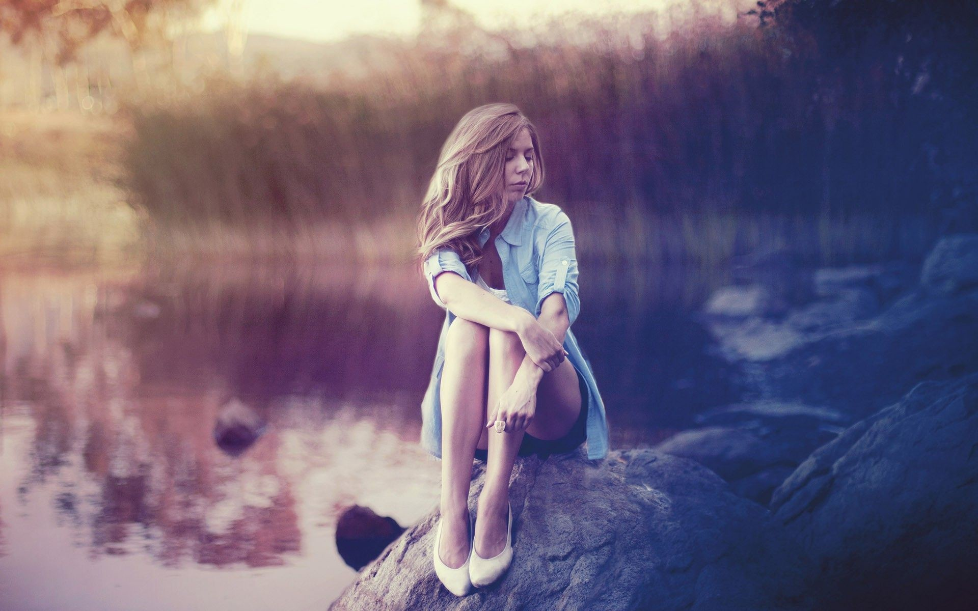 daydreaming by the water girl hd wallpaper