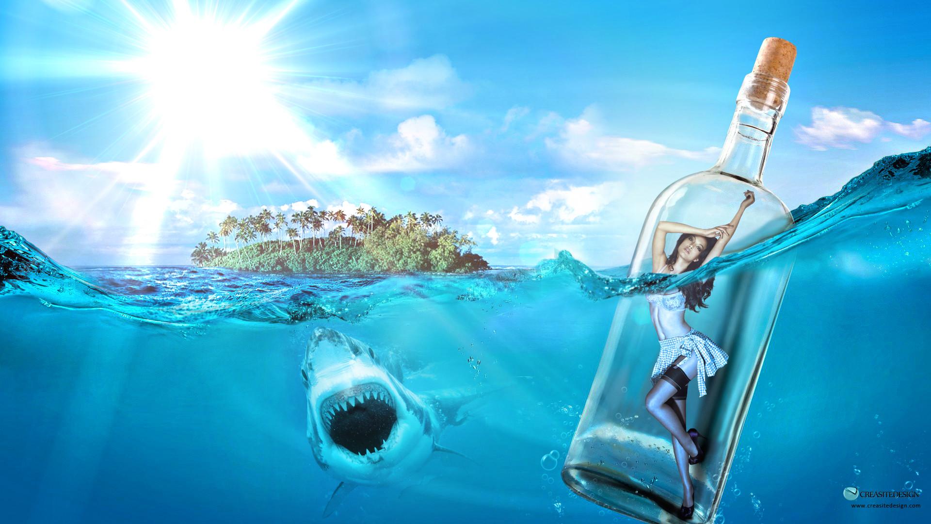… Water-Bottle-girl-island-creasitedesign-wallpa by creasitedesign
