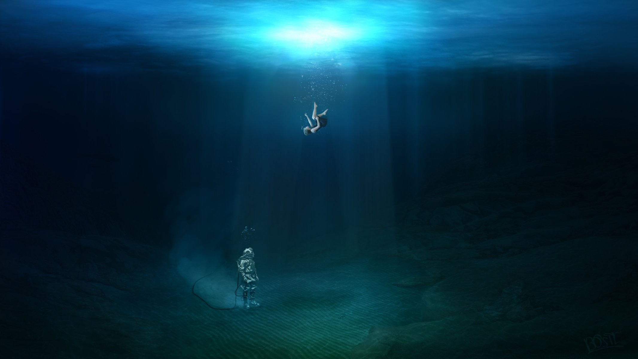 feel like falling commercial diving photoshop girl water ocean air waves hd water  girl diver the