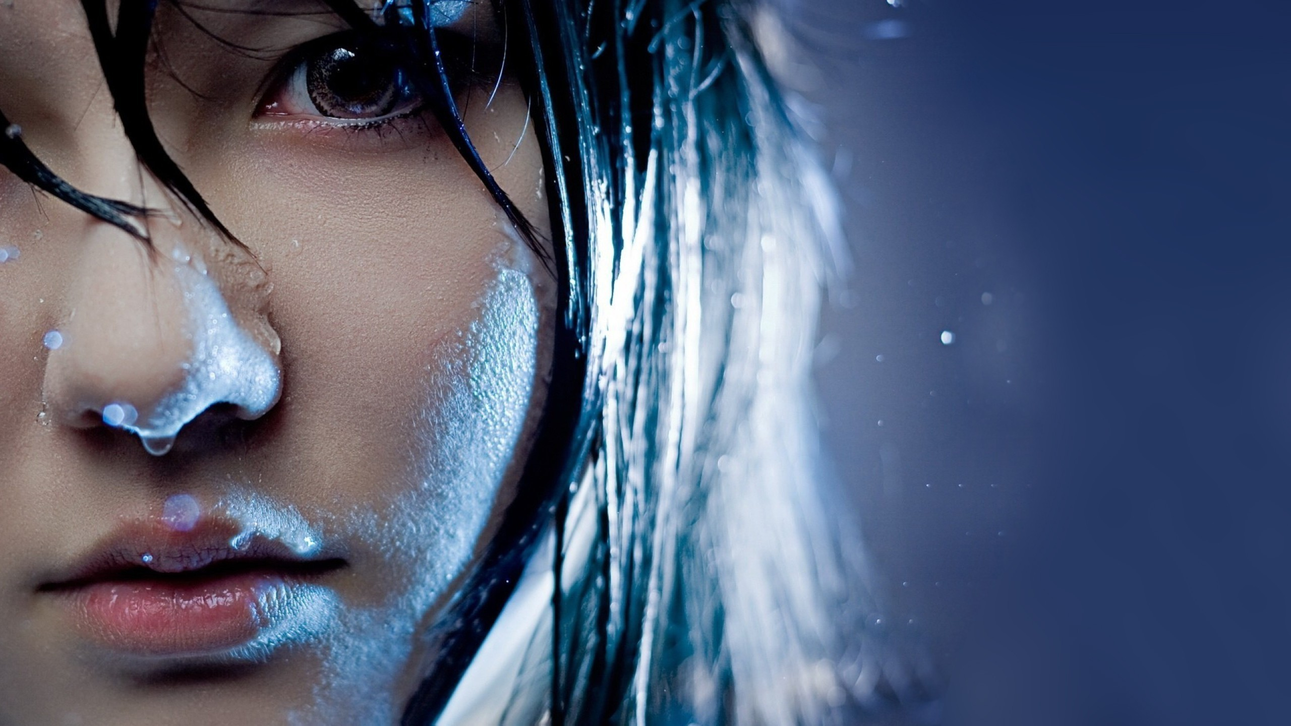 Wallpaper girl, face, hair, water, eyes, close-up