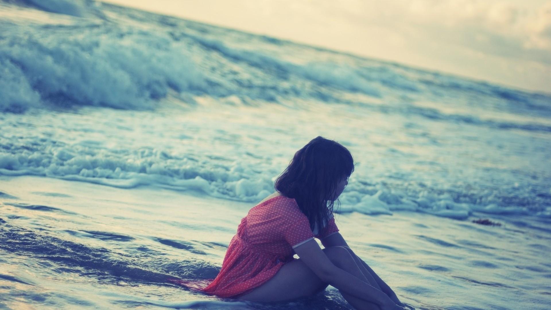 Wallpaper girl, sea, beach, clothes, water, evening