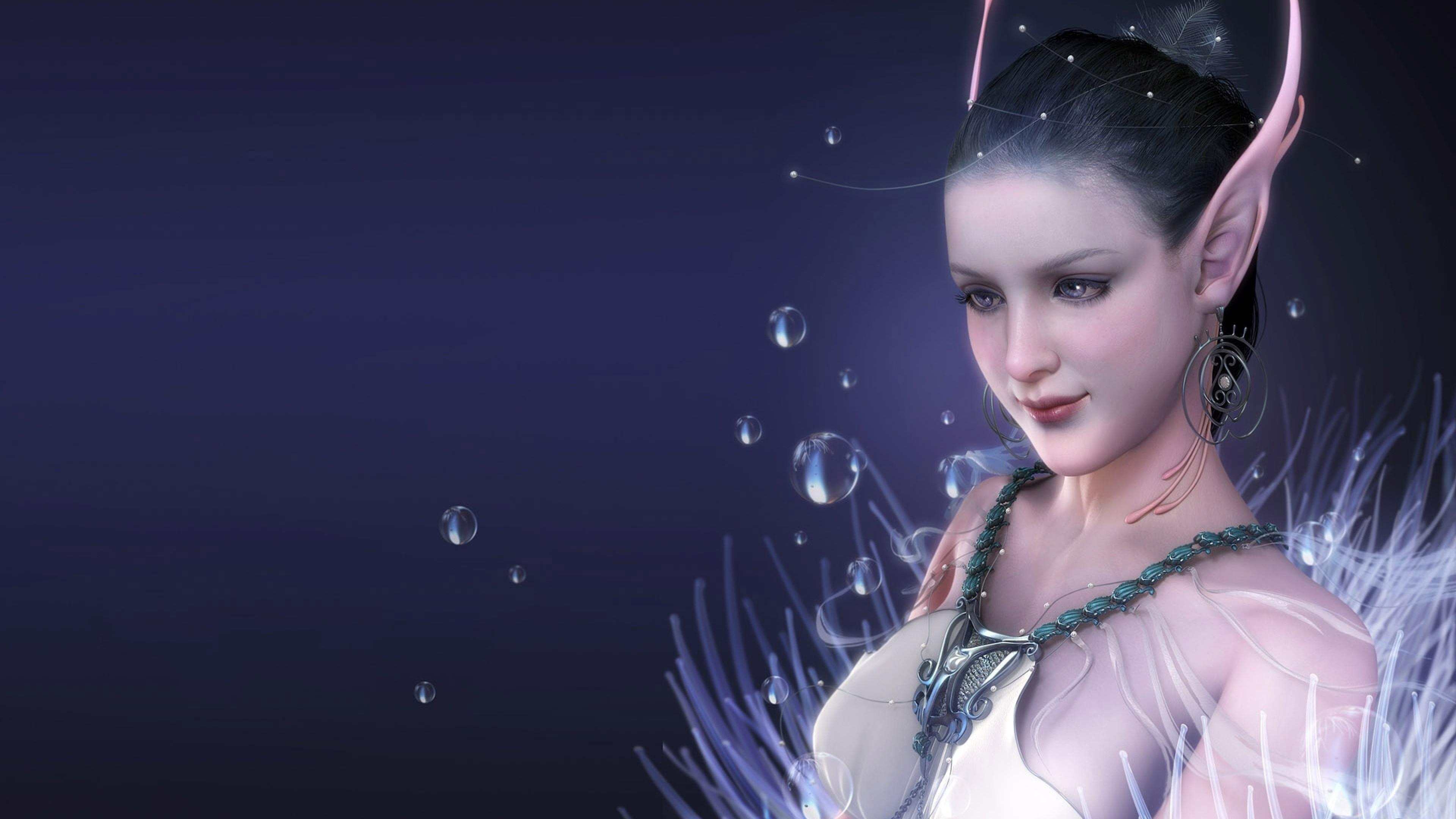 Wallpaper girl, elf, ears, water, dark blue