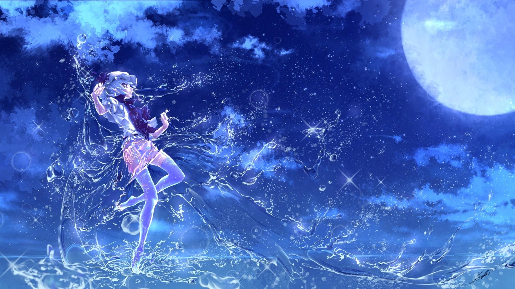 touhou, anime art, water girl, moon, glitter, background