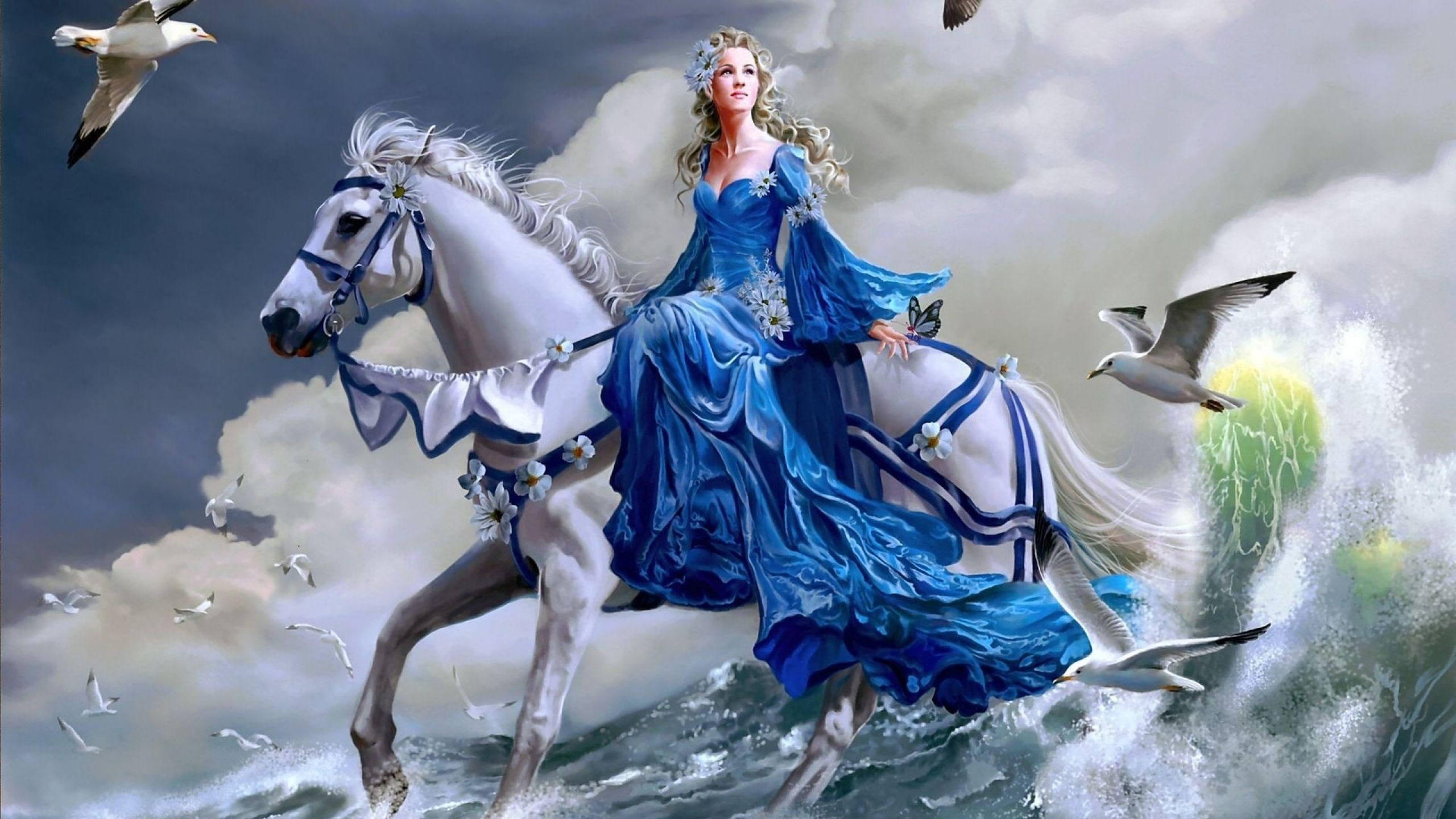 Girl Riding A Horse On Water Fantasy Wallpaper 28685 .