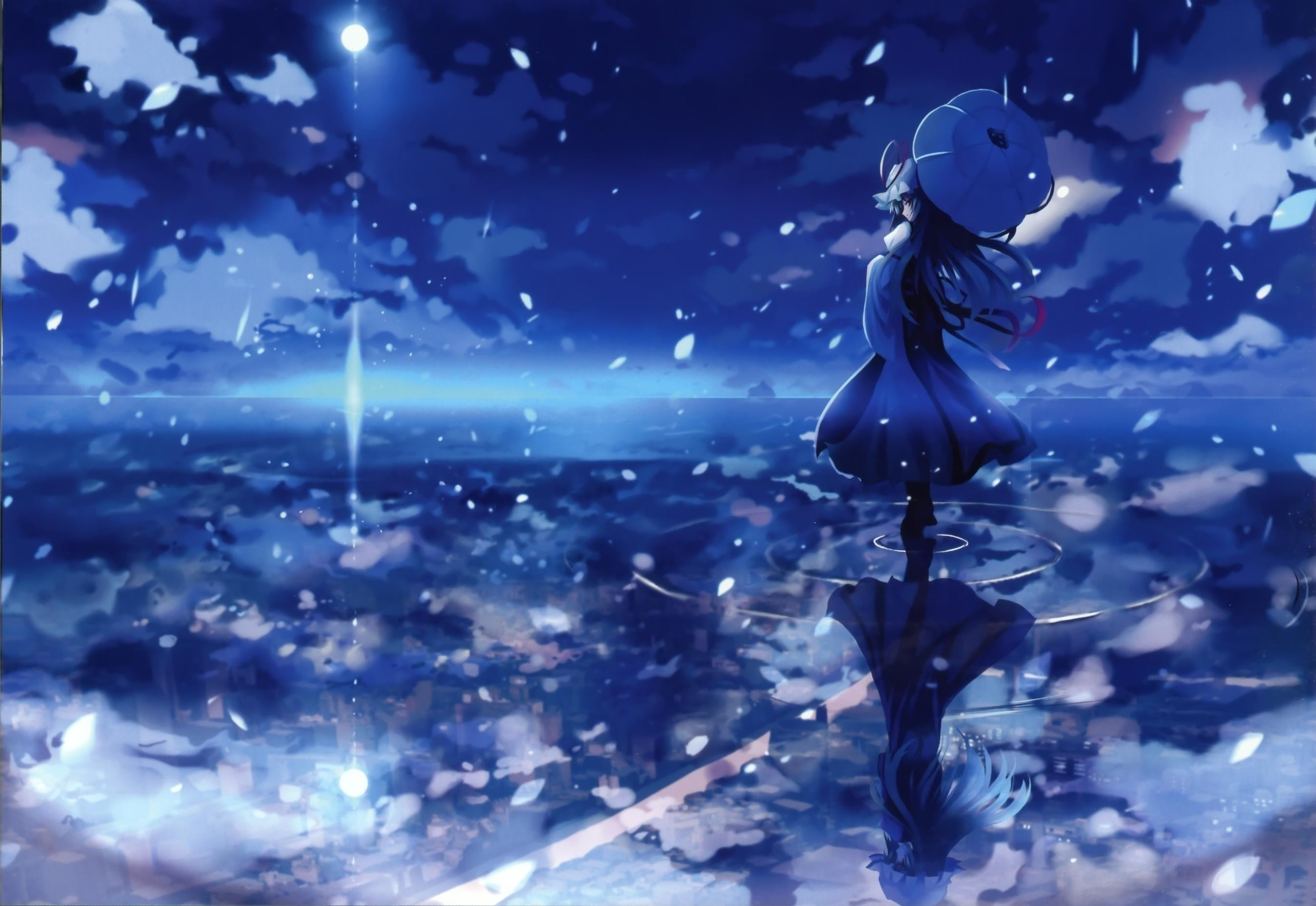 blue bonnet different reflection female maribel hearn moon multiple girls  night parasol reflection ripples shino (eefy) touhou umbrella yakumo yukari  …