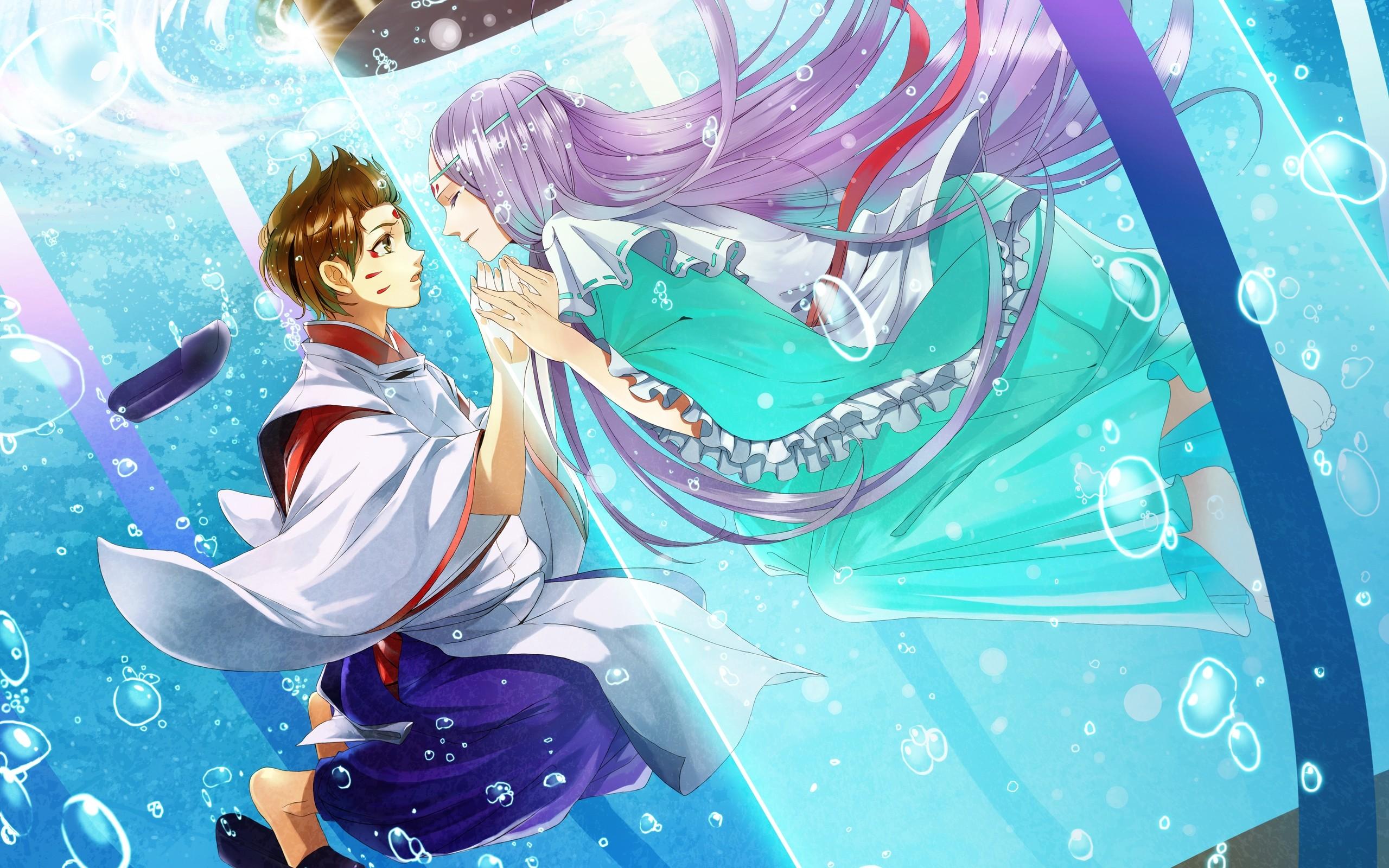 Wallpaper Boy, Girl, Touch, Kimono, Water, Bubbles