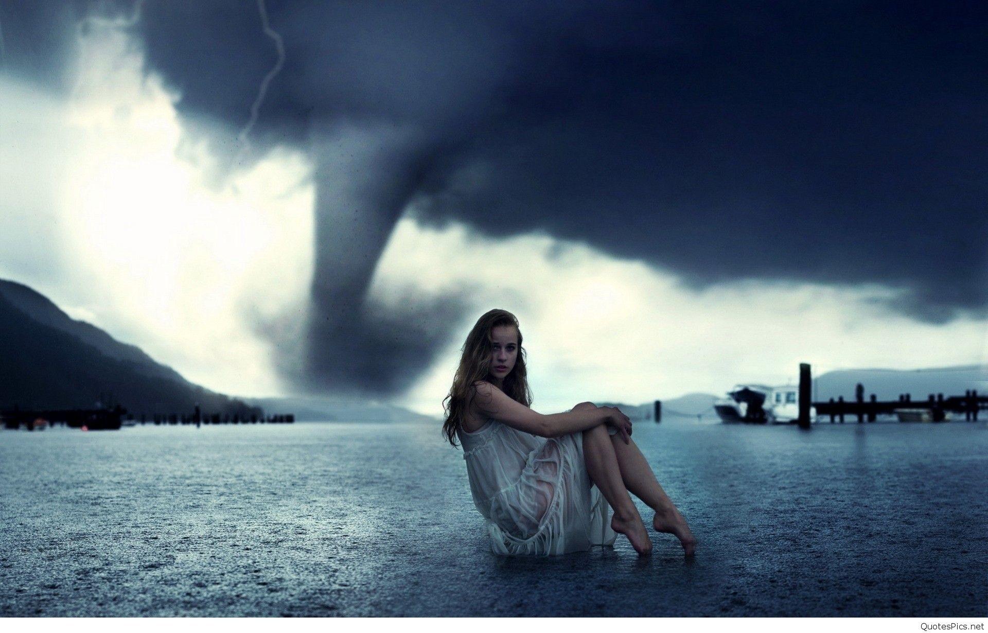 Alone-Girl-In-Tornado-Wallpaper