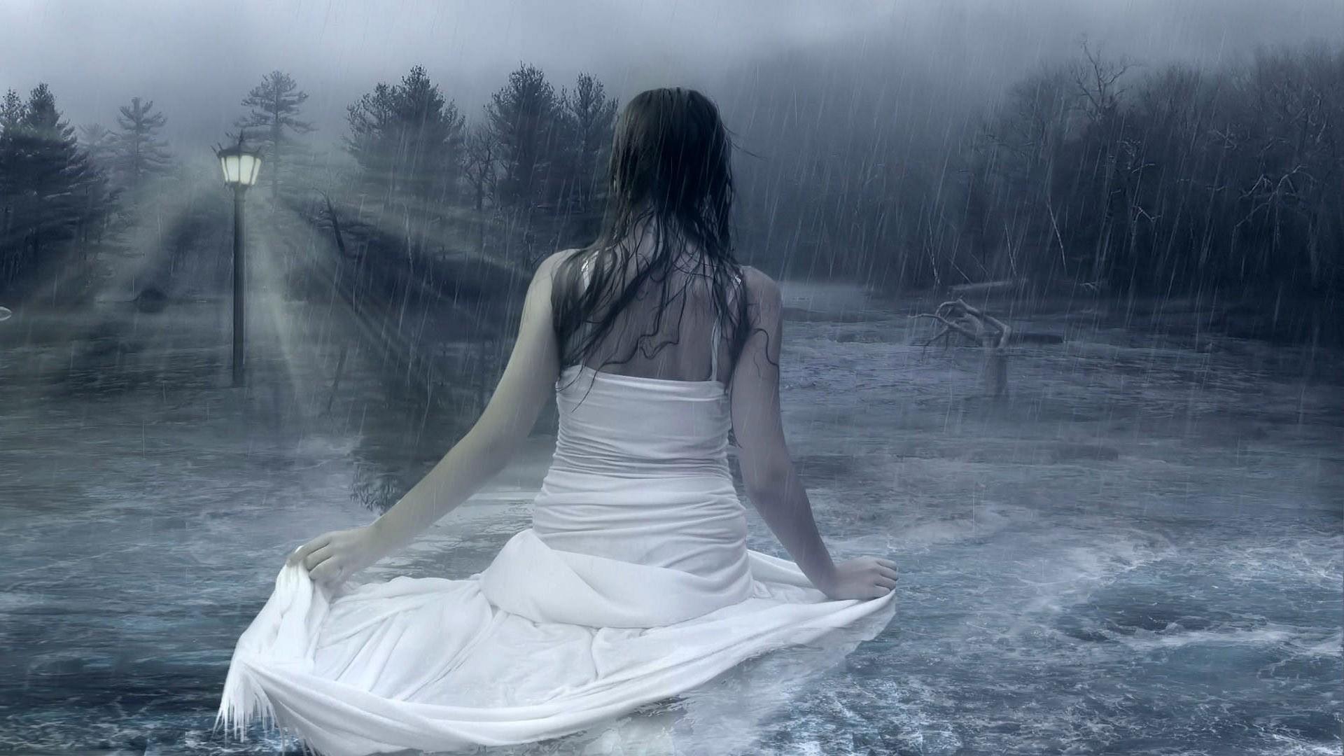 Girl In The Rain Dark Deep Female Flood Girl Light Rain Water White Dress  Woman – Your HD Wallpaper (shared via SlingPic)