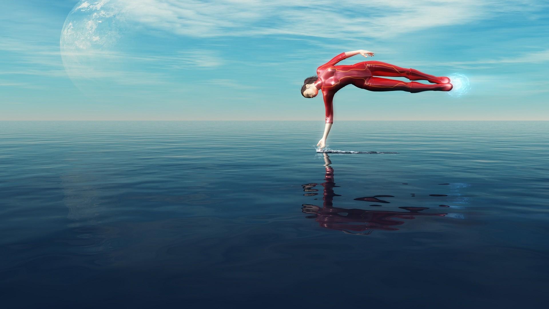 Magic girl power on water 3D wallpaper download