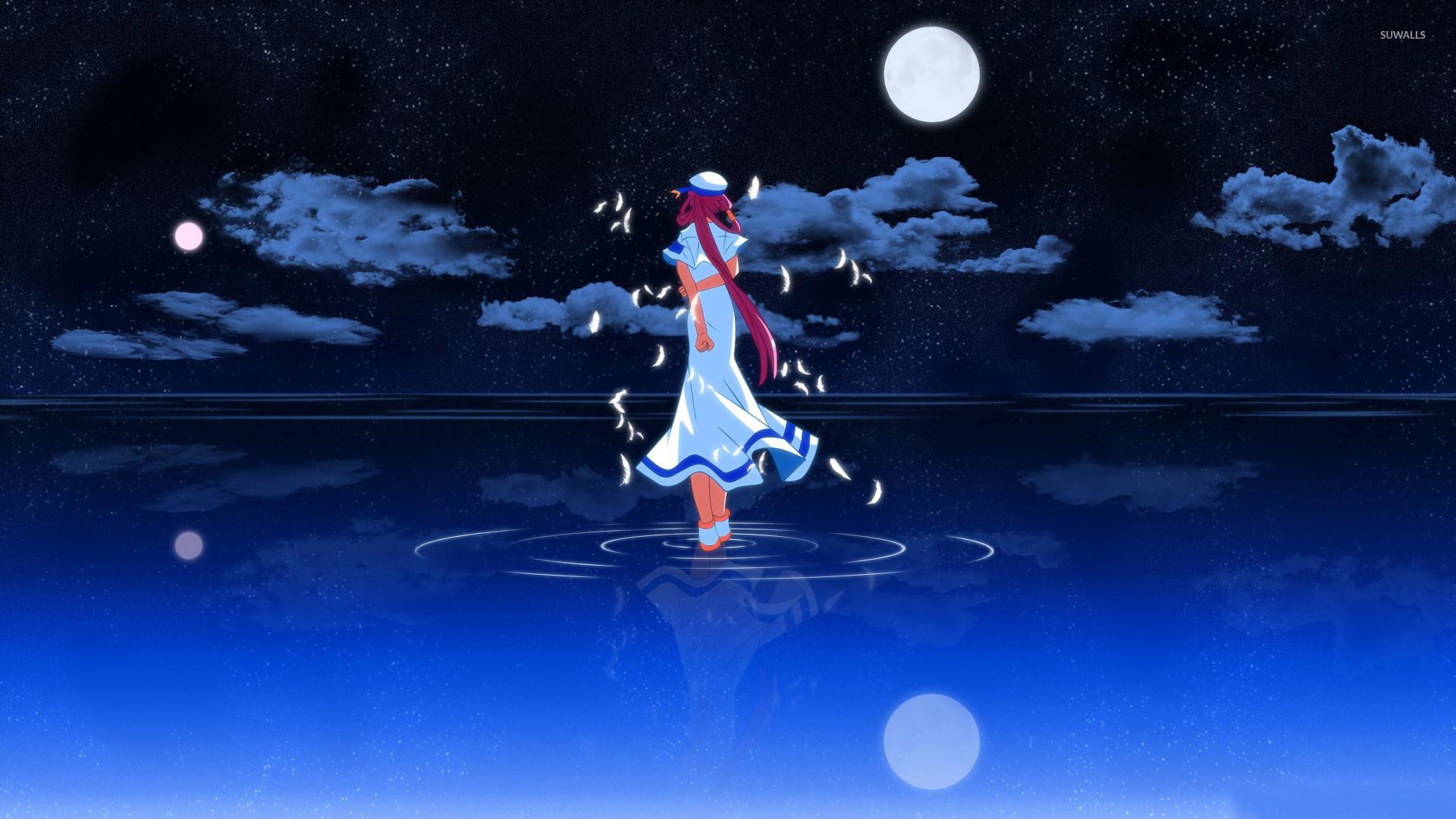 Sailor girl in water wallpaper