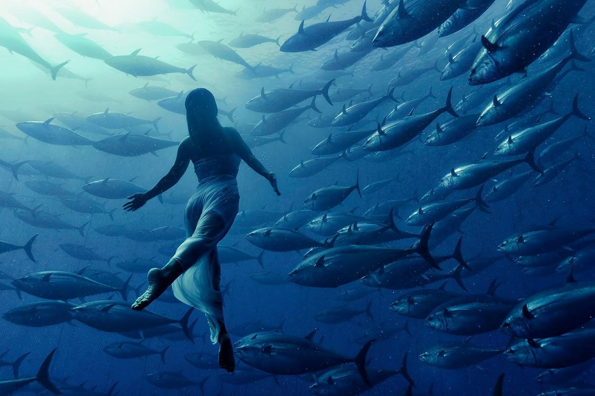 girl dress water depth fish light