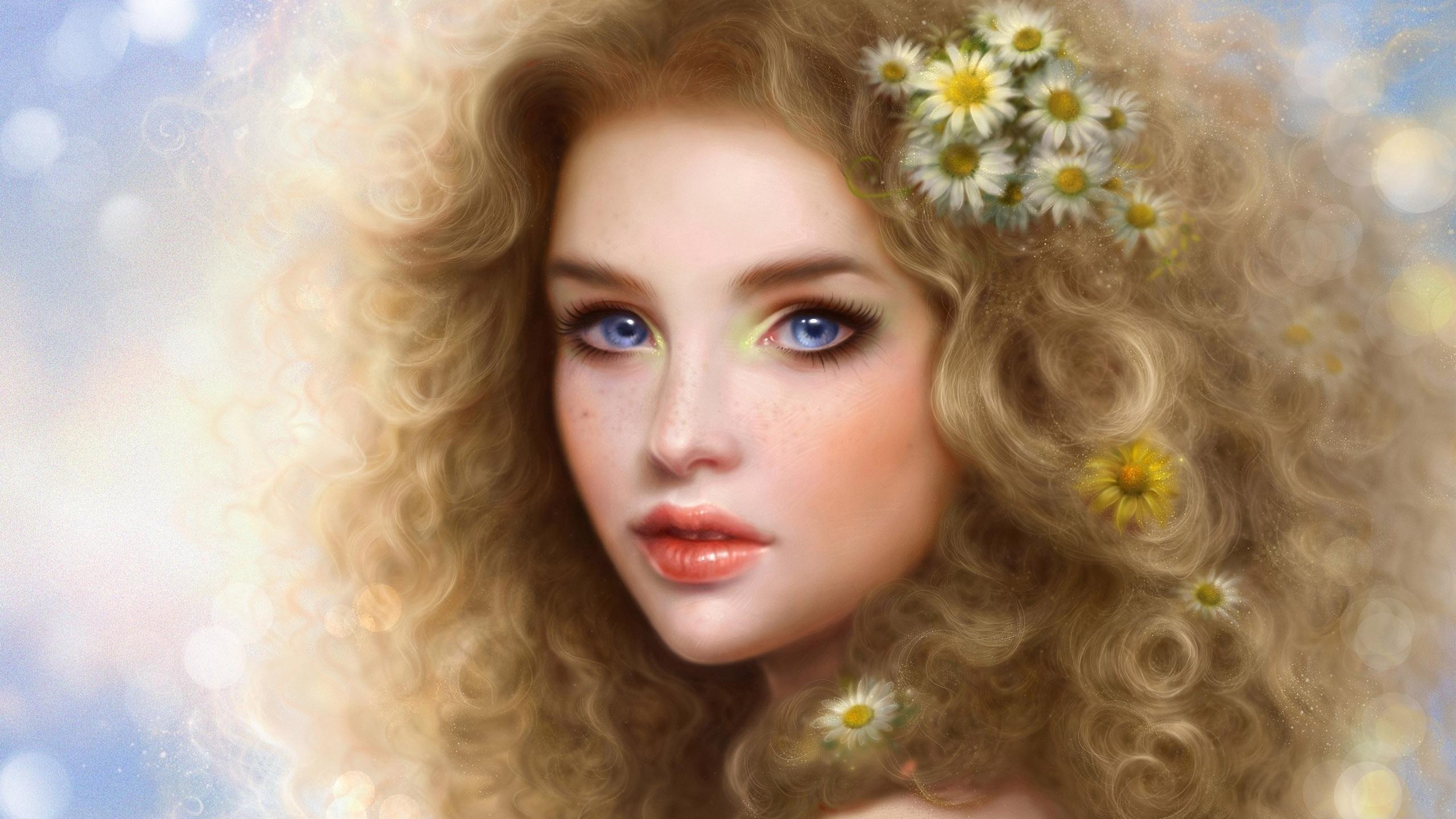 Fantasy girl blue eyes beautiful face blonde girl daisy hair flower  wallpaper | | 594493 | WallpaperUP