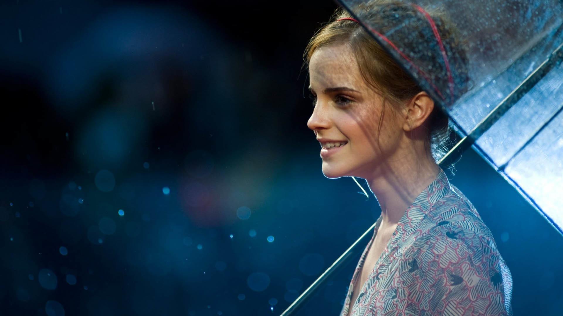 Emma Watson with umbrella wallpaper