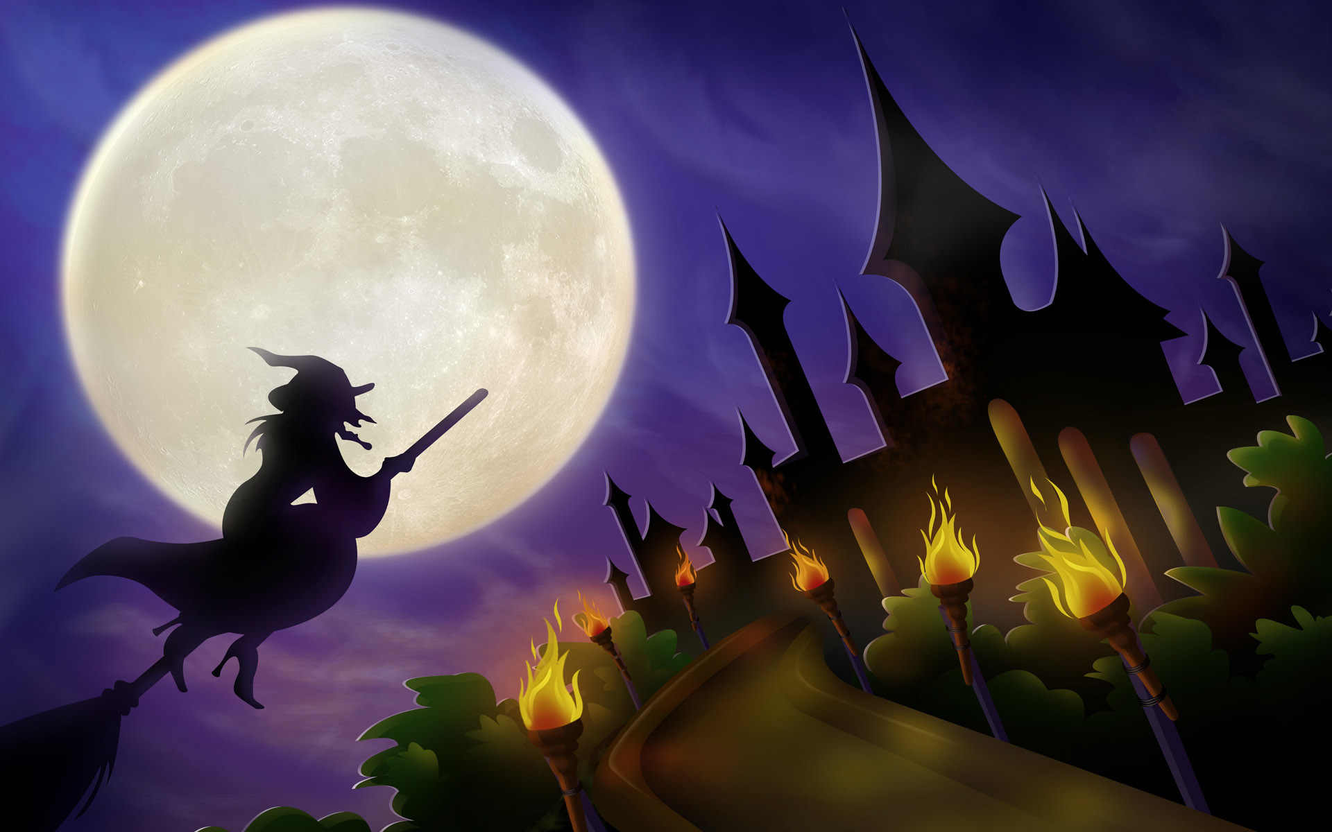 Witch on a broom – halloween wallpaper
