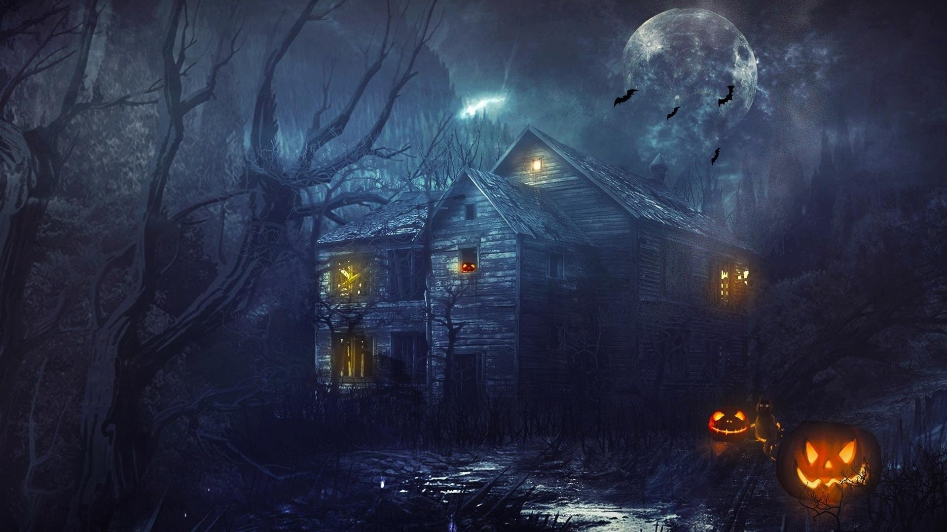 Dark Halloween Night 3D Halloween Screensaver   Halloween & Fright .