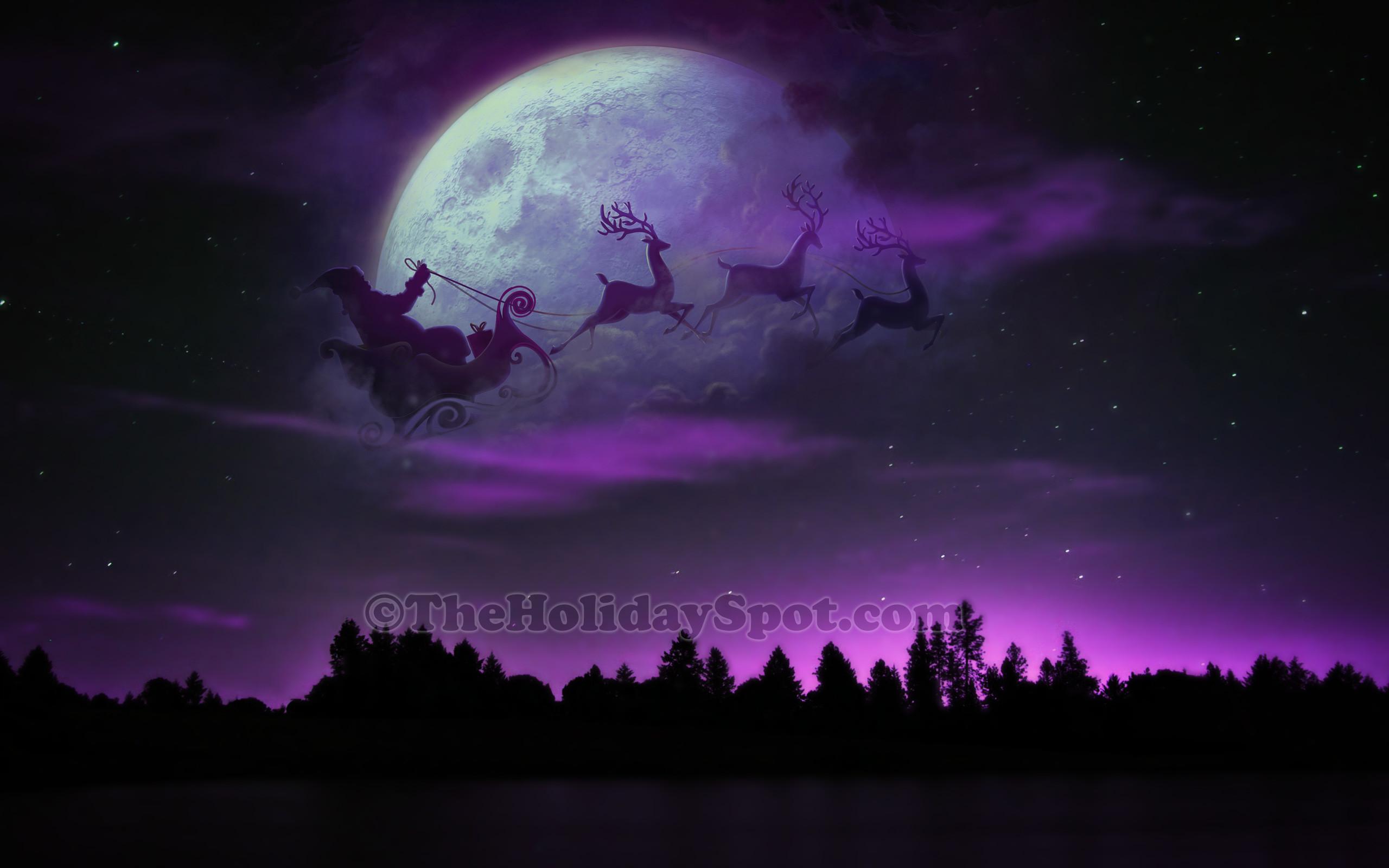 HD Wallpaper – Santa, Sleigh and Reindeer at Christmas Night
