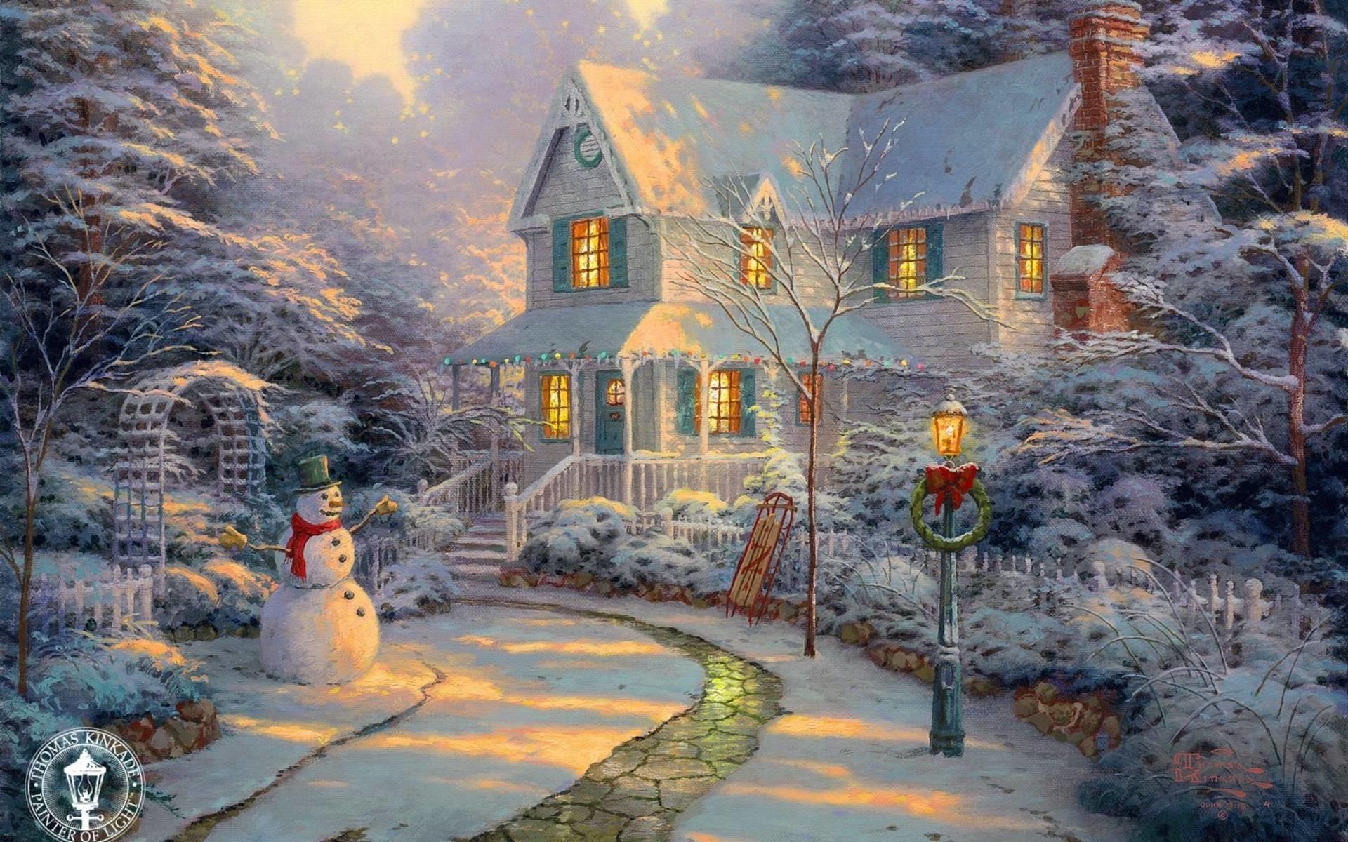 Wallpapers For > Thomas Kinkade Christmas Cottage Wallpaper