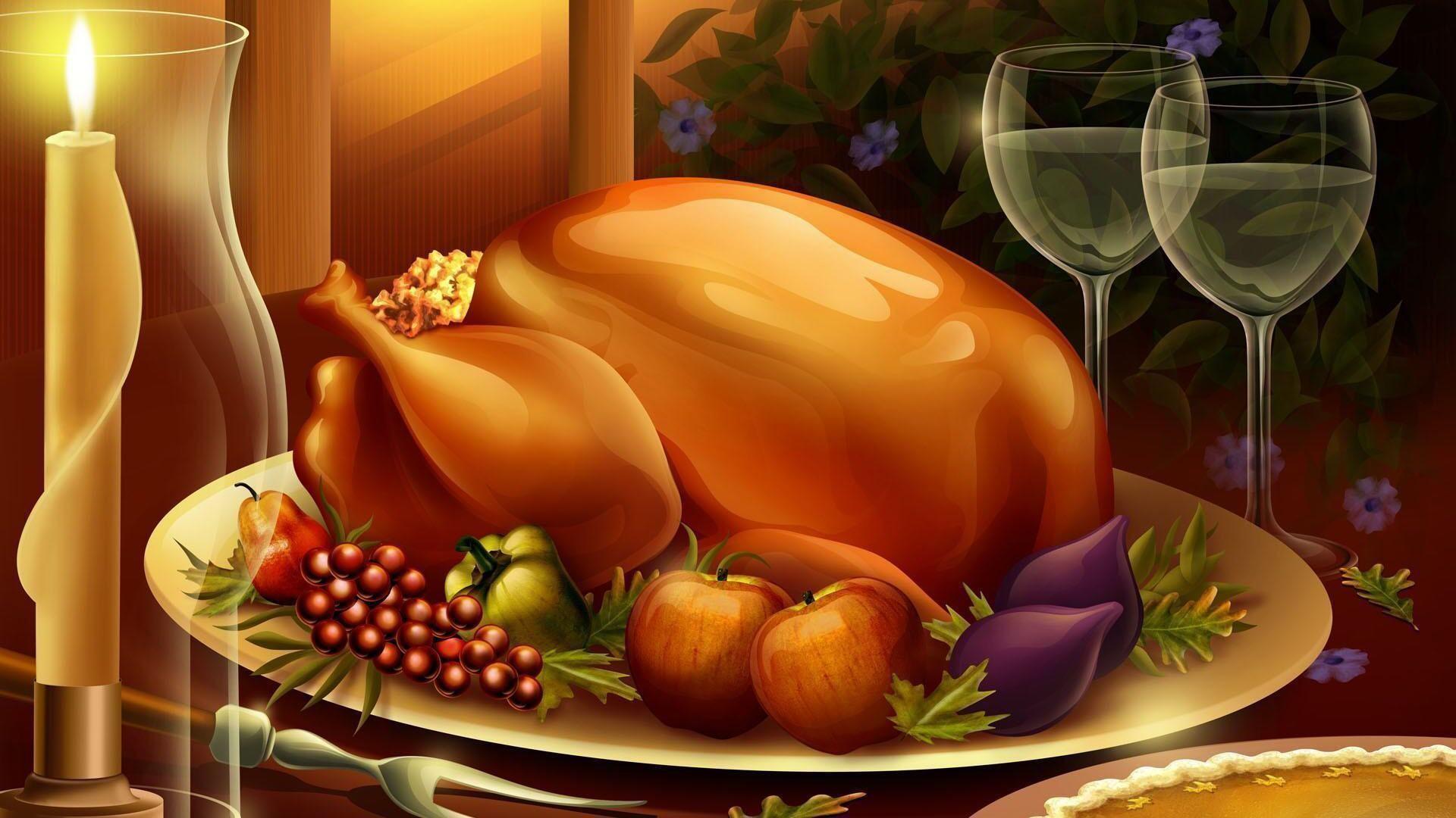 HD 3d thanksgiving foods Wallpaper Free