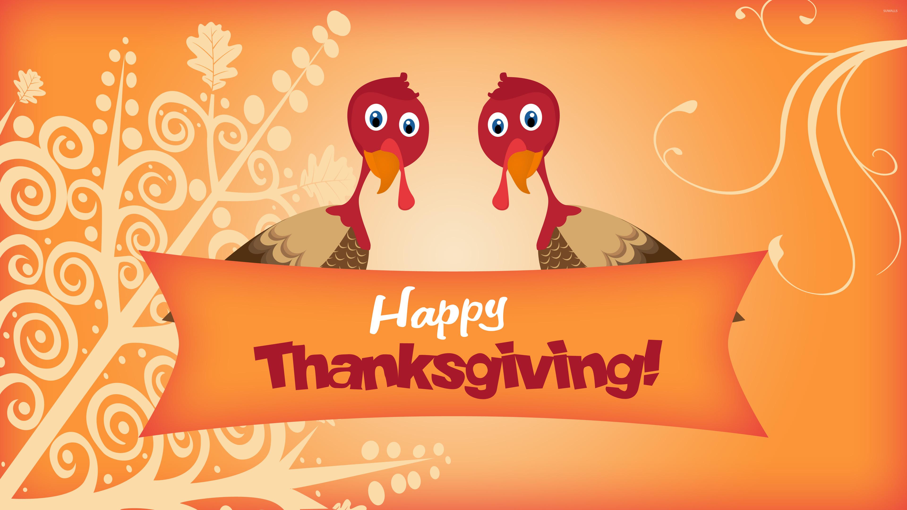 Two turkeys wishing you Happy Thanksgiving wallpaper jpg