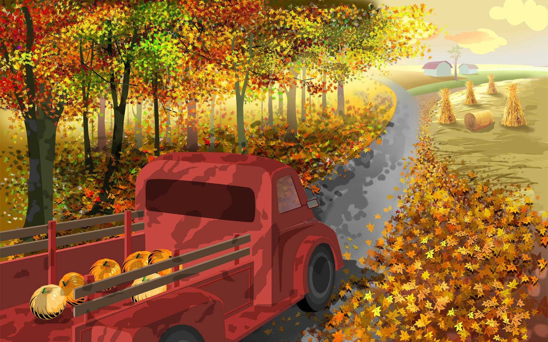 Thanksgiving Cartoon,Thanksgiving Desktop Wallpaper 7_High Definition .