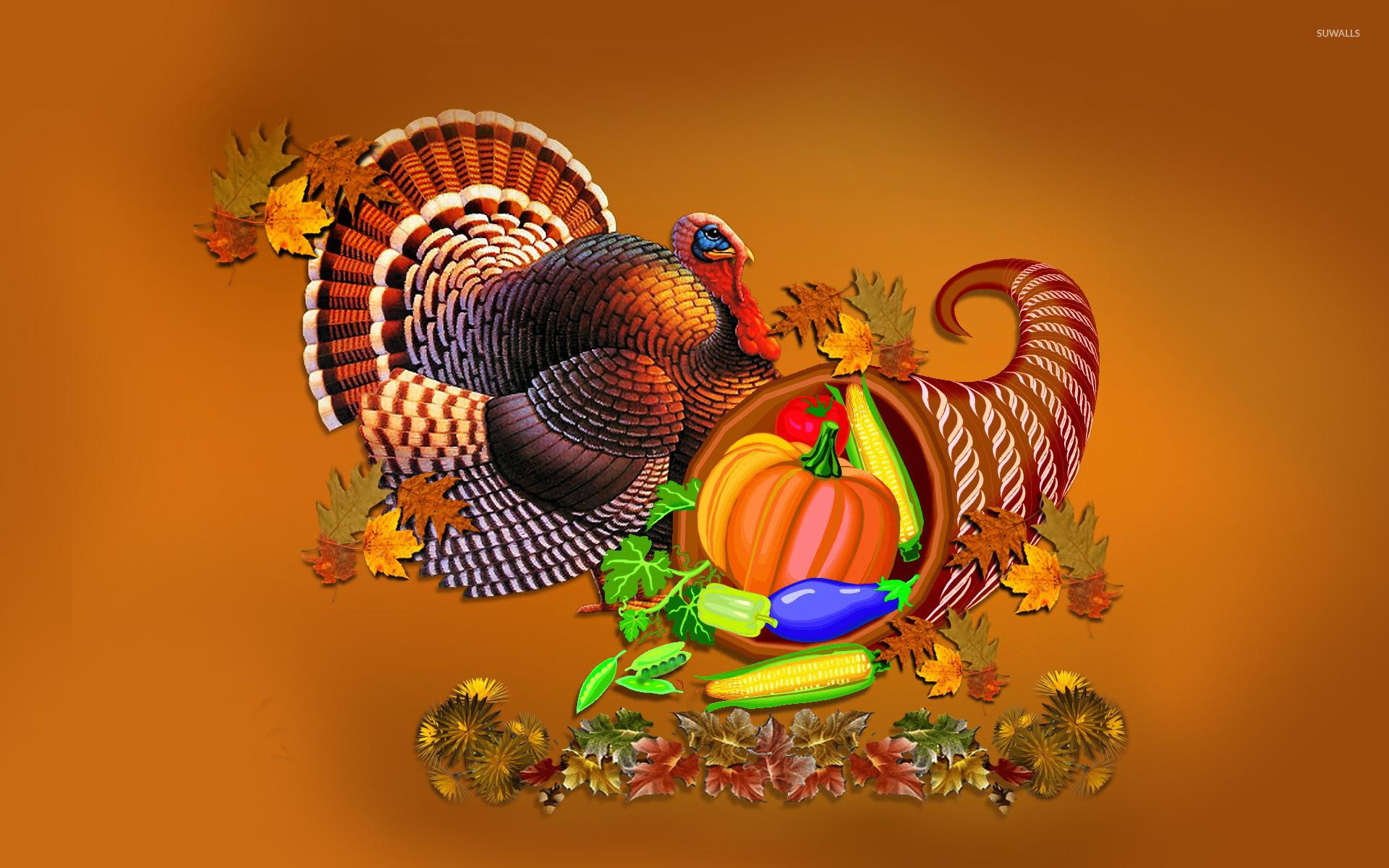 Thanksgiving turkey and cornucopia wallpaper jpg