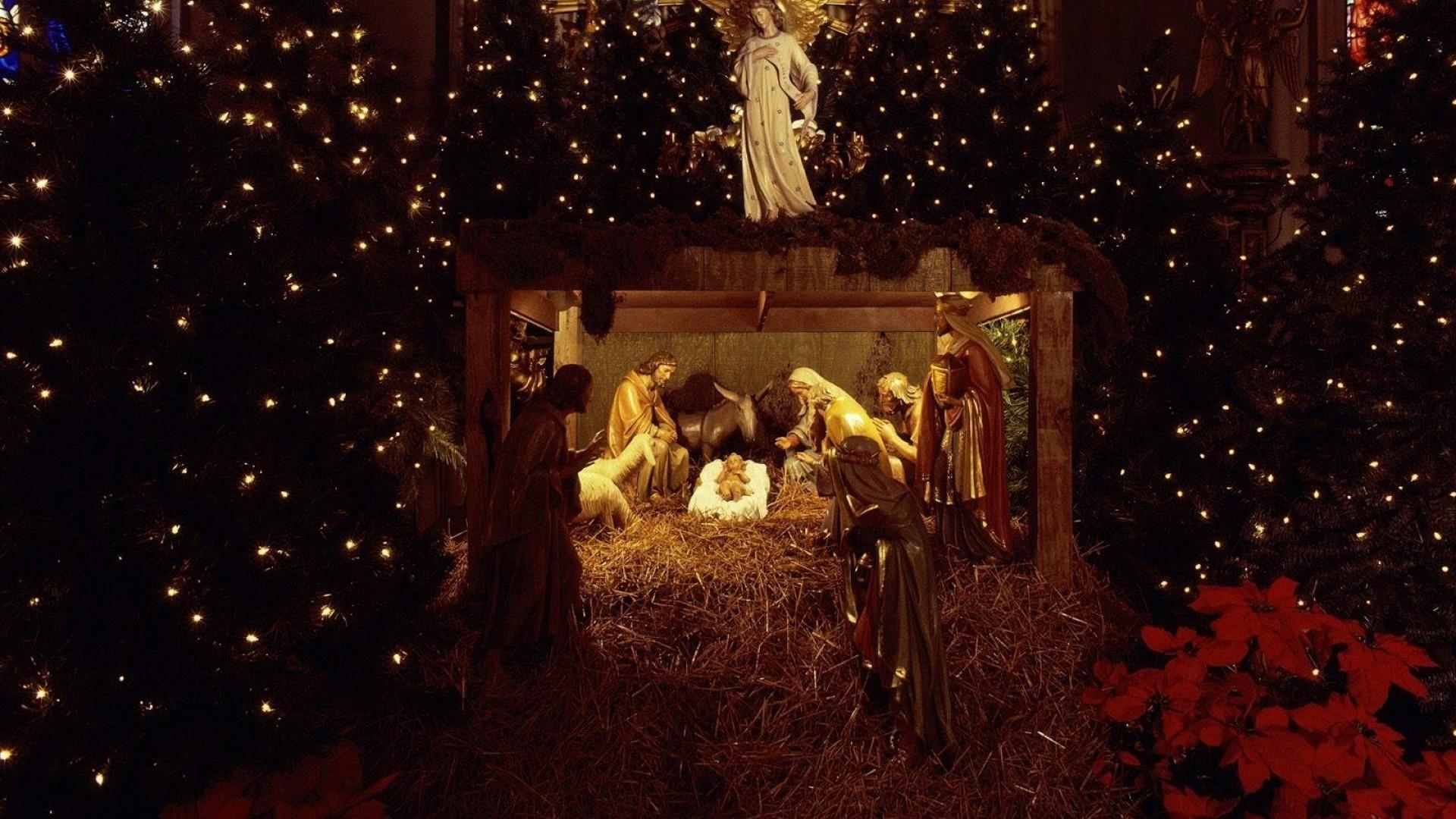 Preview wallpaper christmas, jesus, nurseries, christmas trees, garland,  holiday, people