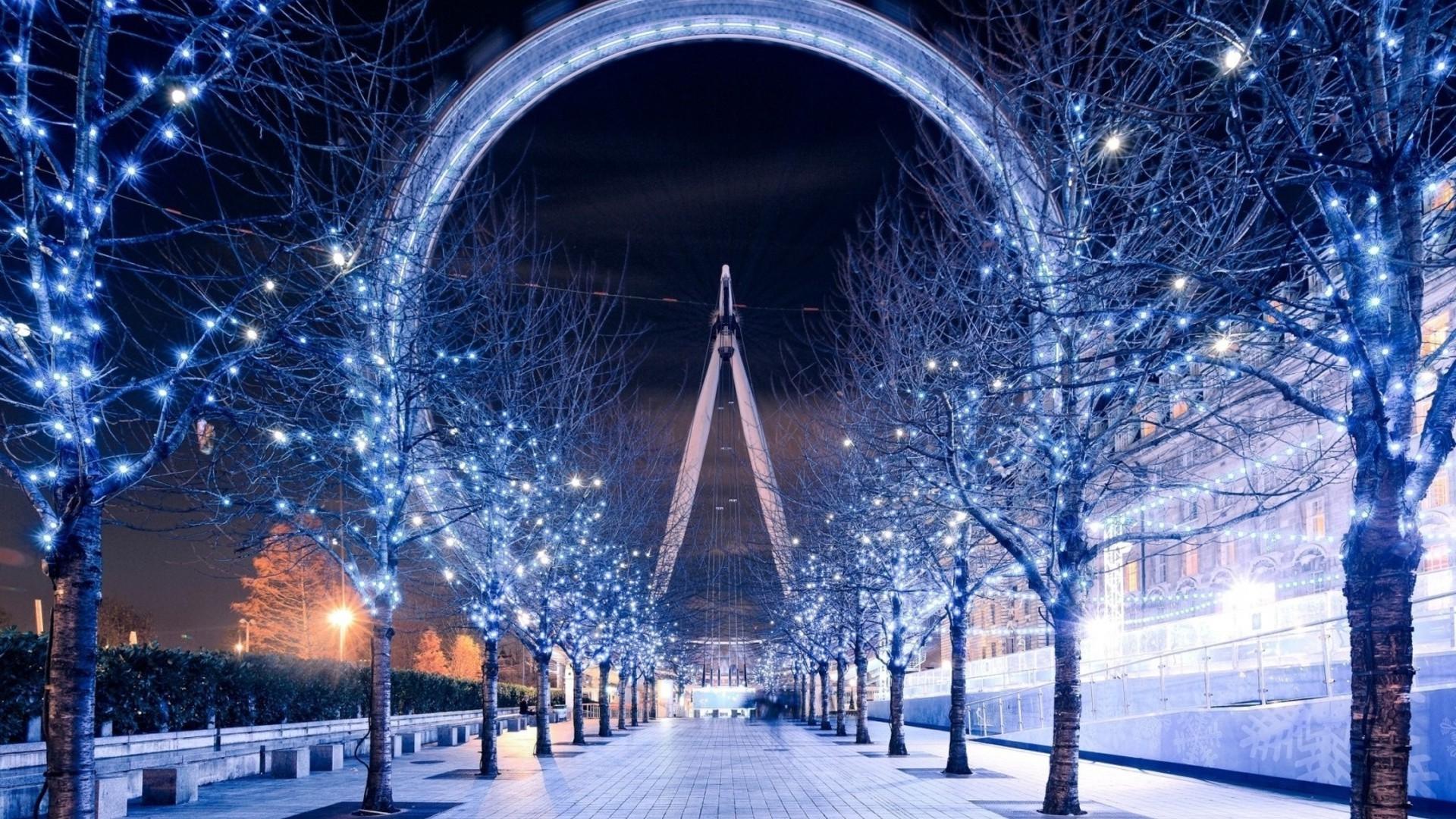 London Eye, Christmas Lights, Trees, London, Path Wallpapers HD / Desktop  and Mobile Backgrounds