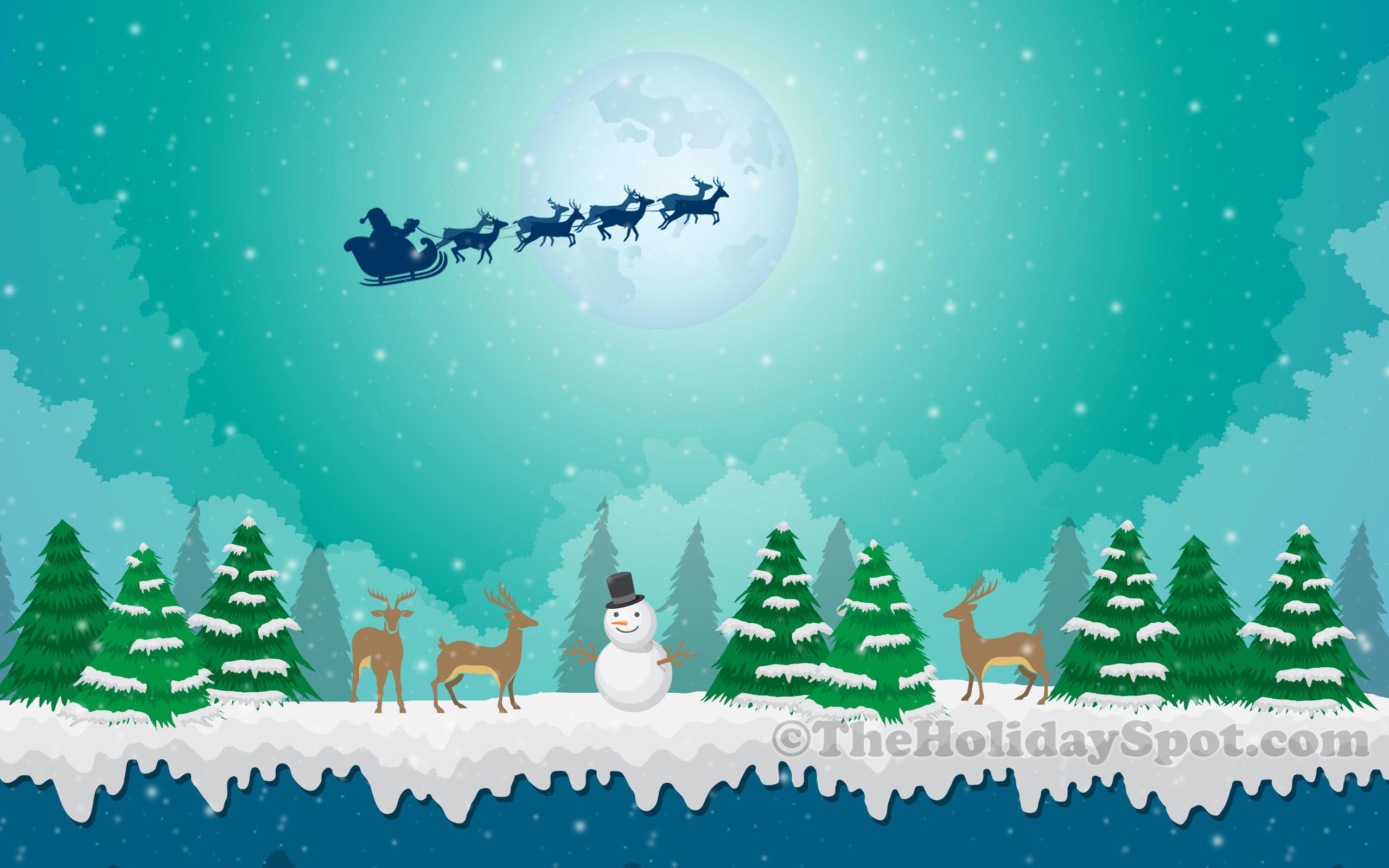 Wallpaper of Snowy Christmas Scene
