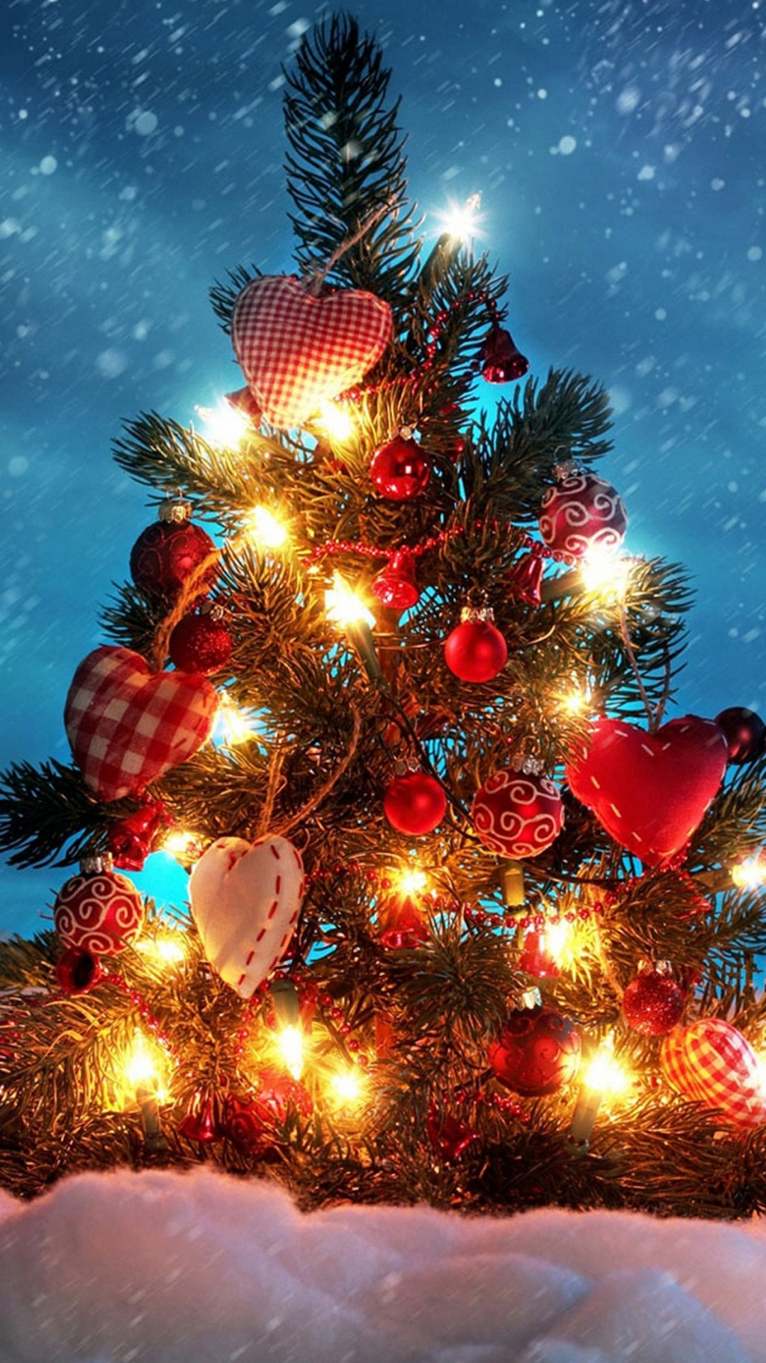 christmas tree heart love decorations iphone 6 wallpapers HD. Christmas  Wallpaper …