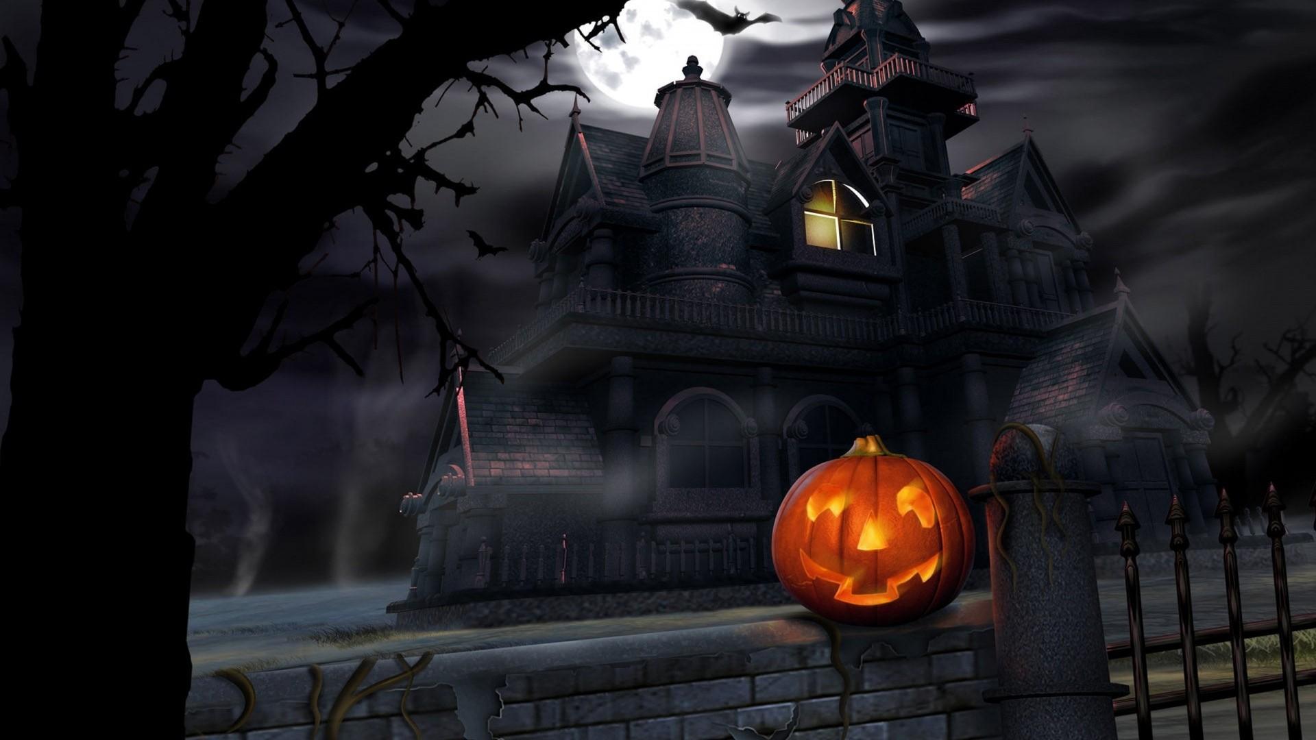 Wallpaper halloween, pumpkin, lantern, house, darkness, gloom