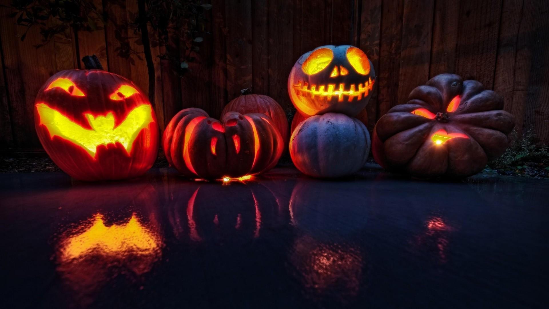 Wallpaper halloween, holiday, pumpkin, lanterns, faces